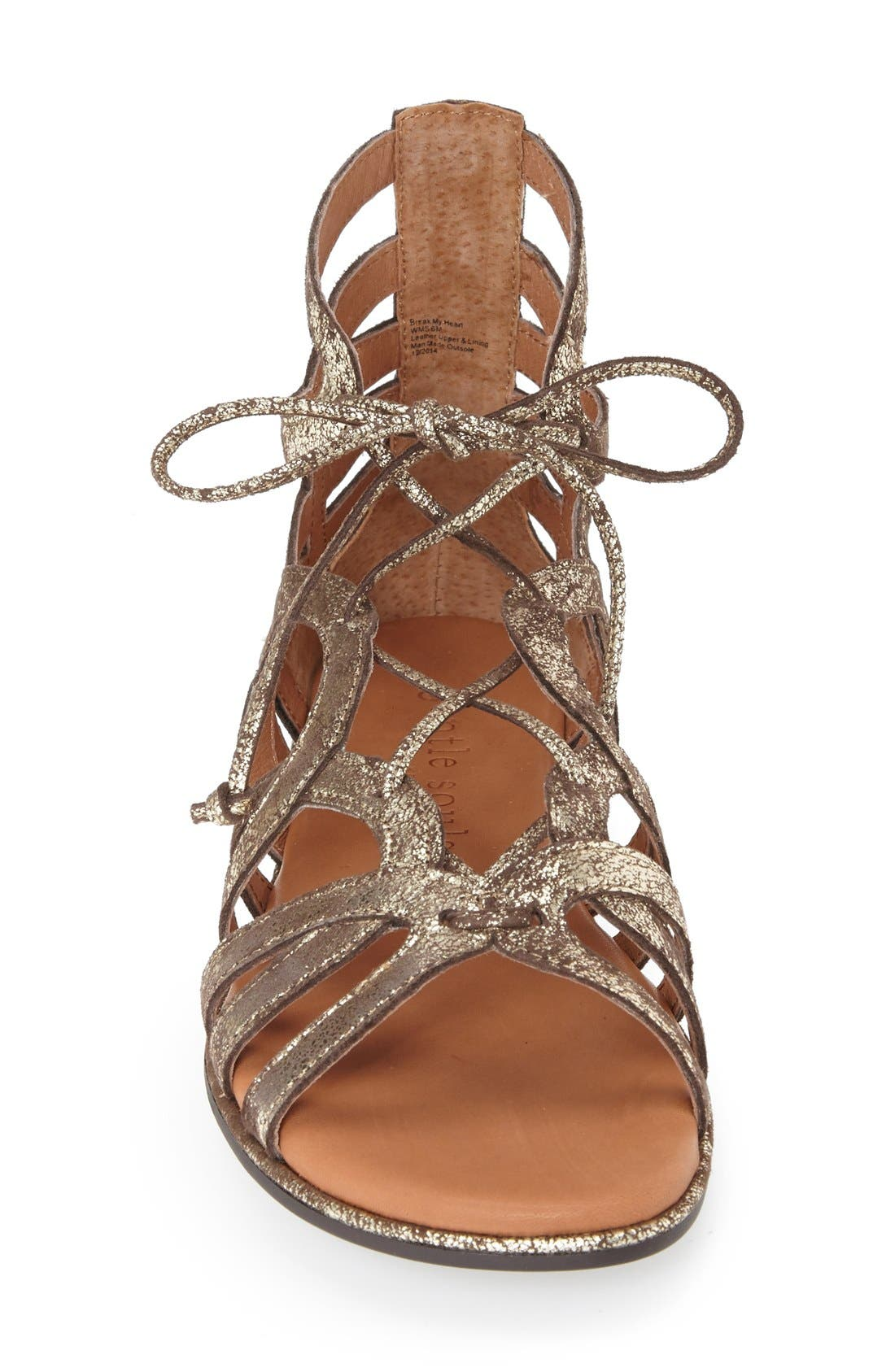 GENTLE SOULS BY KENNETH COLE,                             'Break My Heart 3' Cage Sandal,                             Alternate thumbnail 3, color,                             BROWN LEATHER