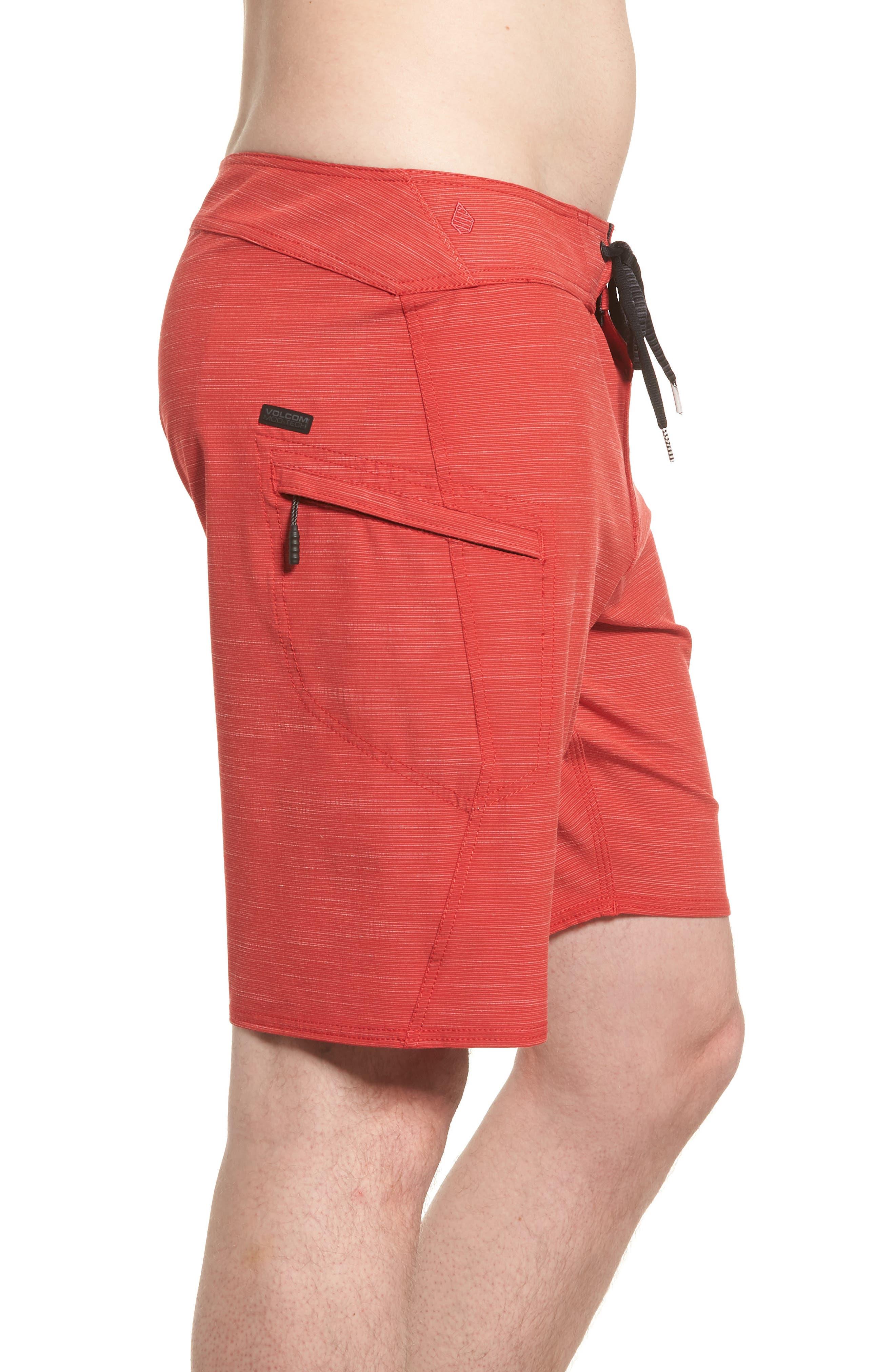 Lido Slub Modern Board Shorts,                             Alternate thumbnail 3, color,                             RED