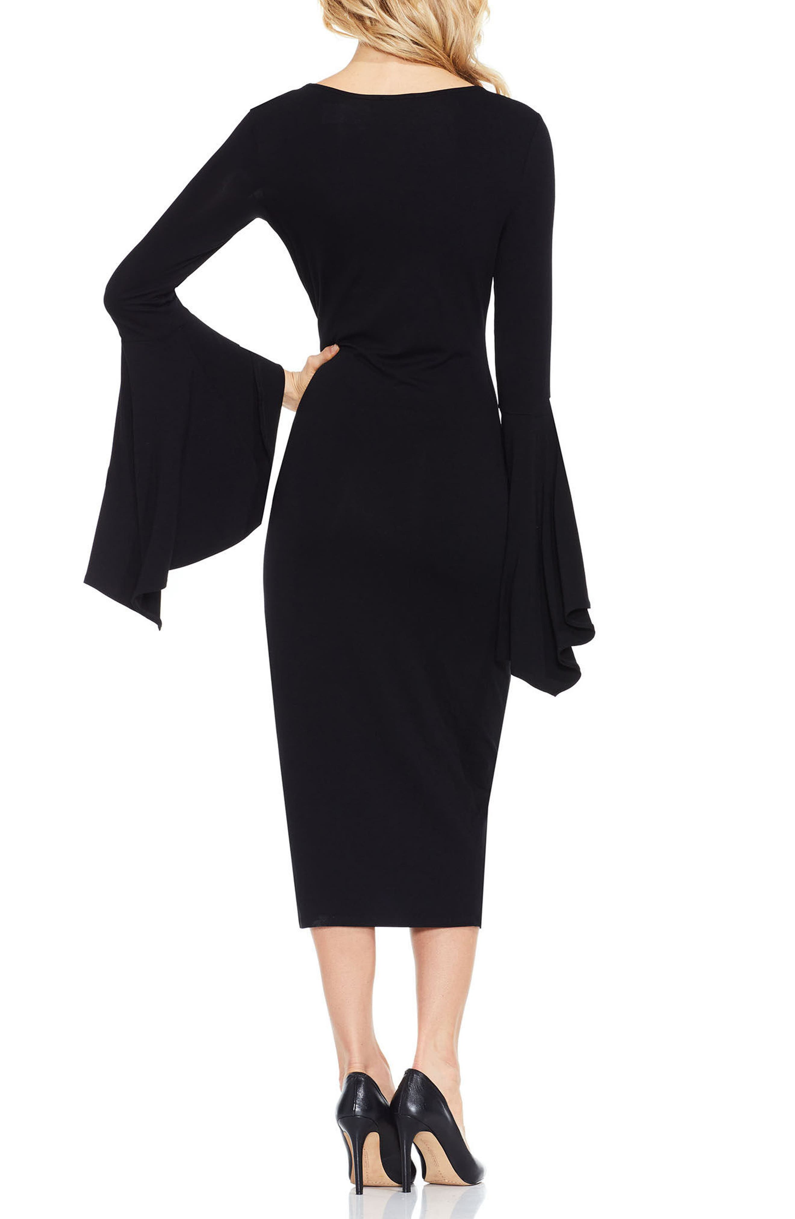 VINCE CAMUTO,                             Bell Sleeve Midi Dress,                             Alternate thumbnail 2, color,                             006