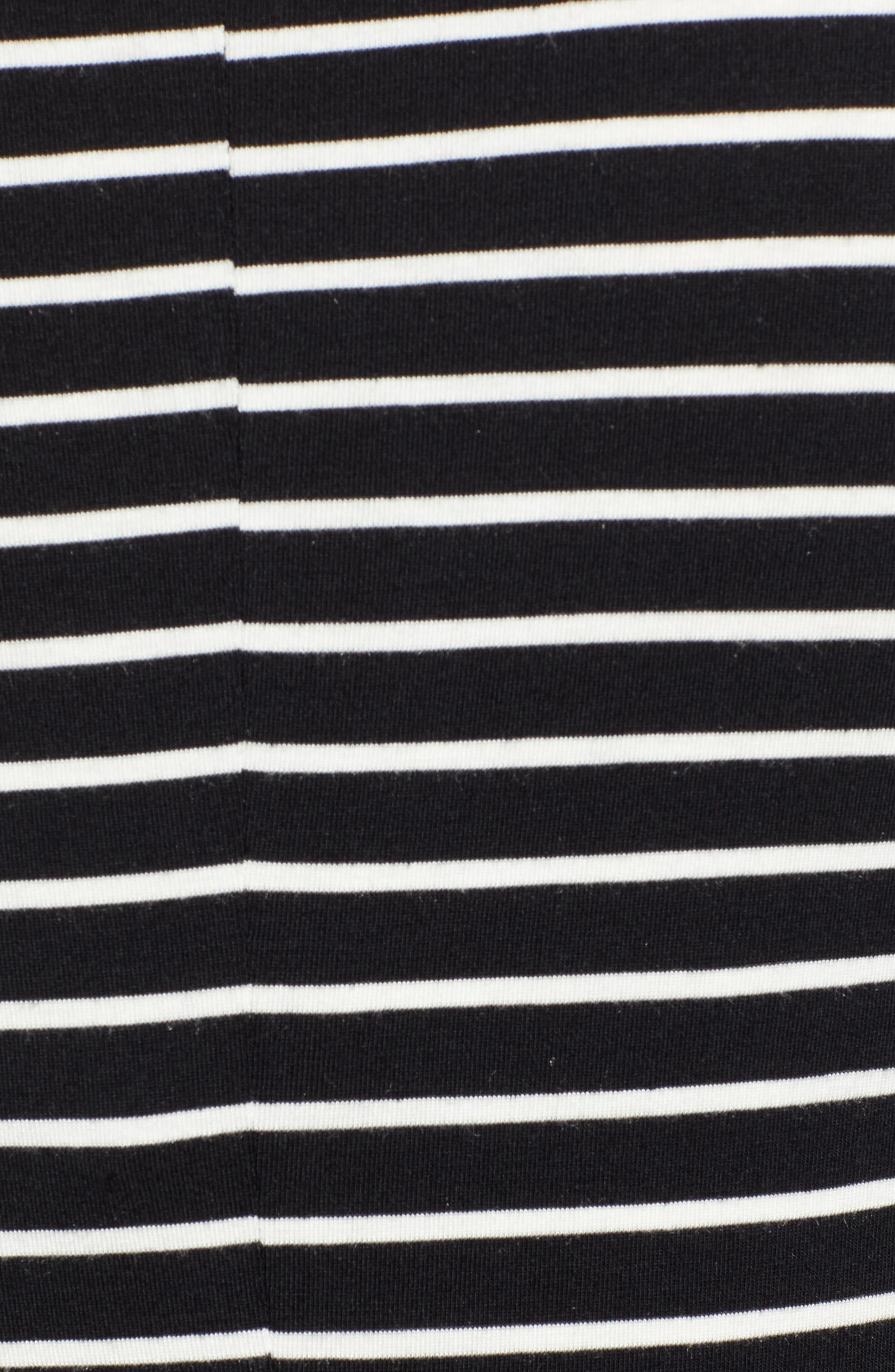 Long Sleeve Modal Blend Tee,                             Alternate thumbnail 5, color,                             BLACK- IVORY ASHLEY STRIPE