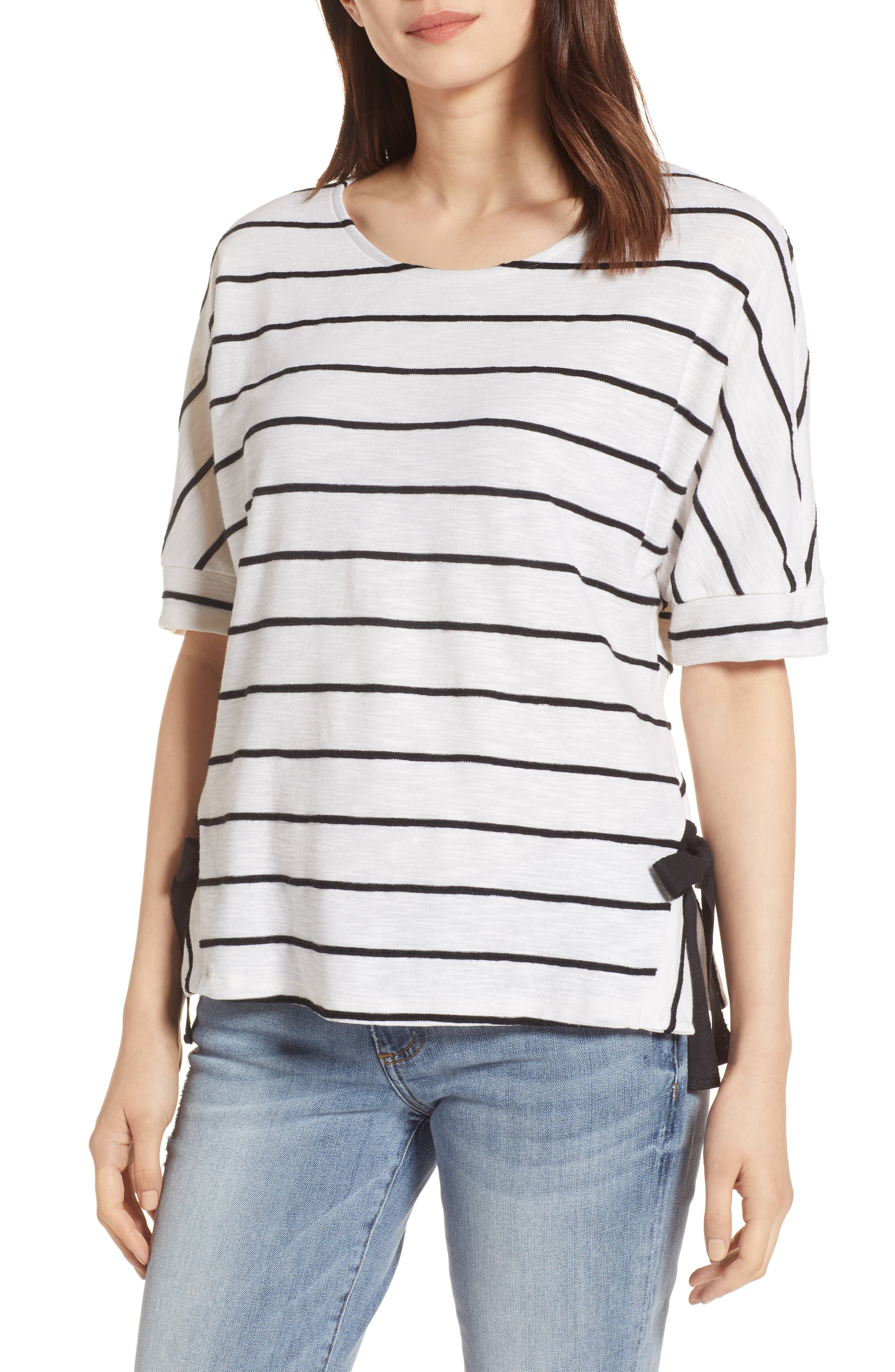 Side Tie Stripe Tee,                             Main thumbnail 1, color,                             106