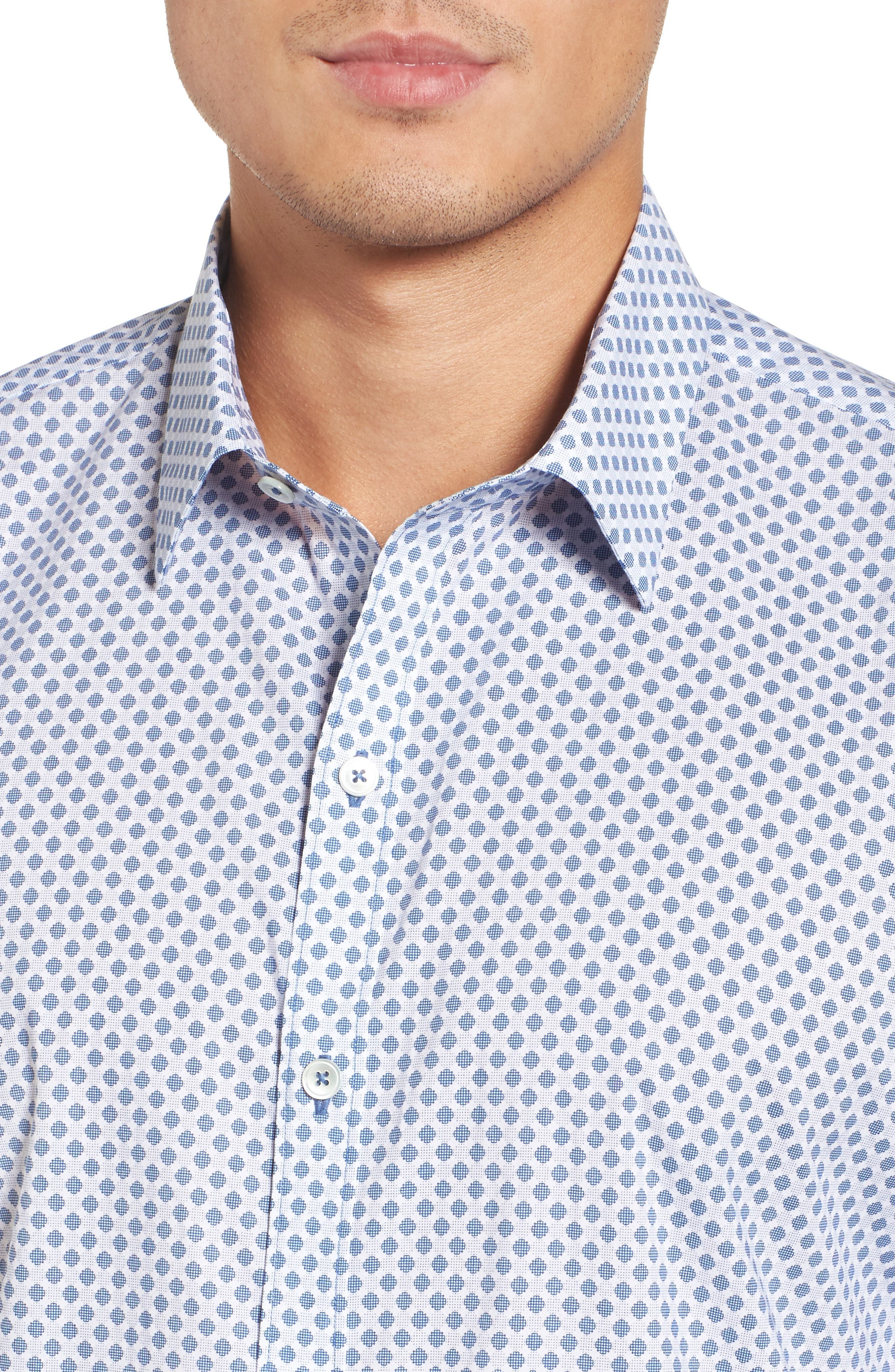 Obi Slim Fit Circle Print Sport Shirt,                             Alternate thumbnail 4, color,                             NAVY