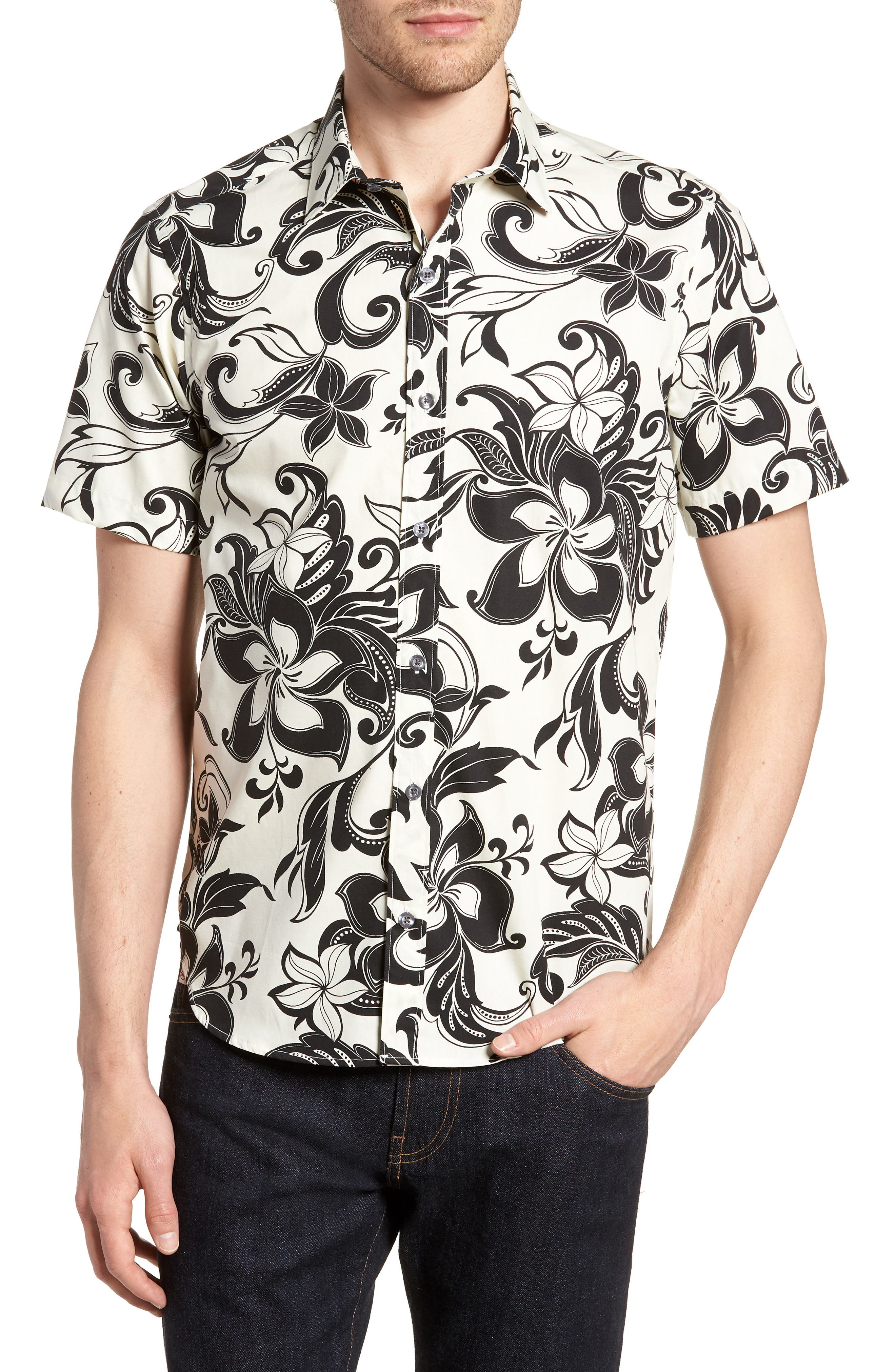 Odessa Tailored Fit Floral Sport Shirt,                         Main,                         color, 110