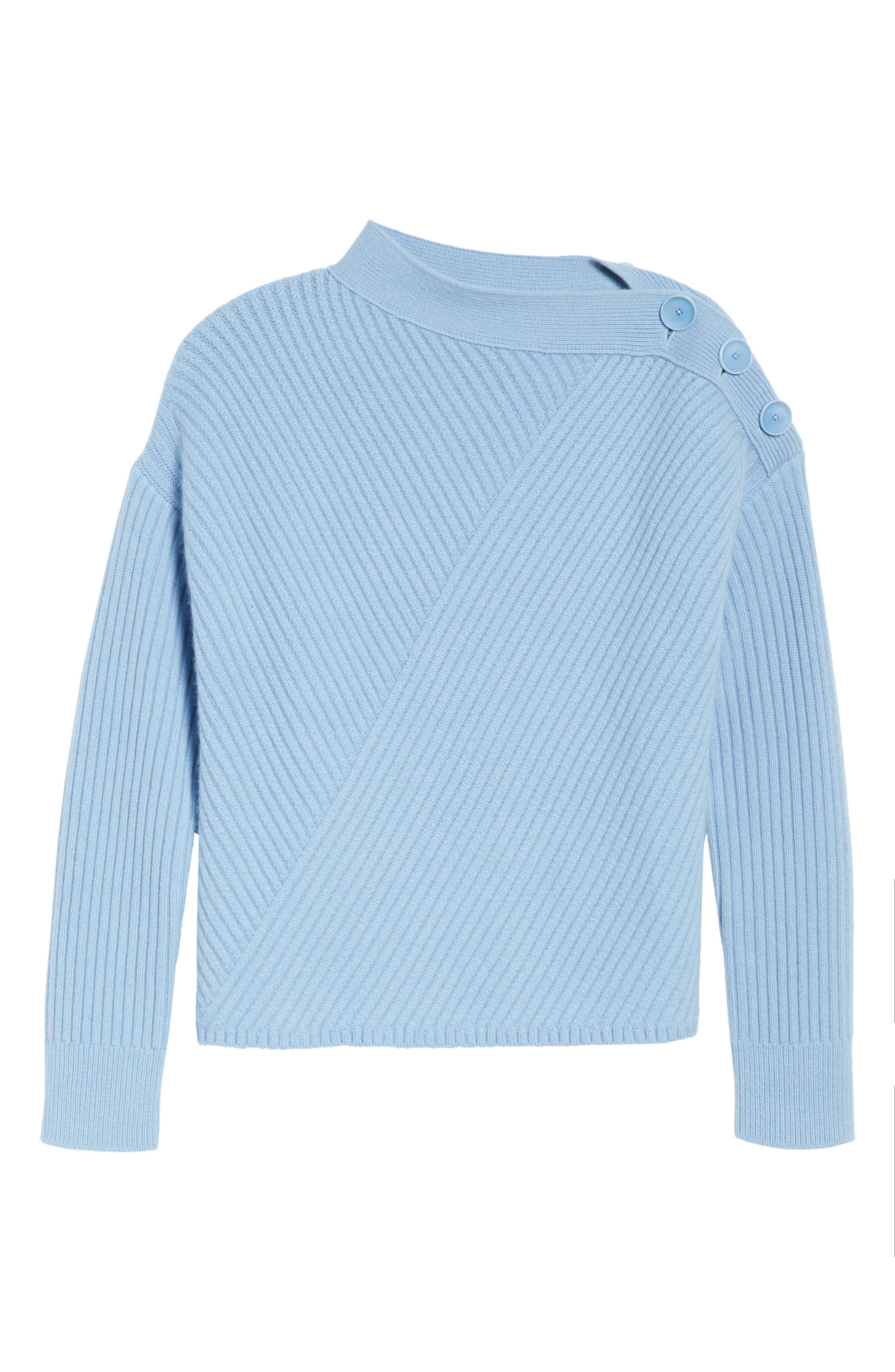 Bateau Neck Button Detail Cashmere Pullover,                             Alternate thumbnail 6, color,                             420