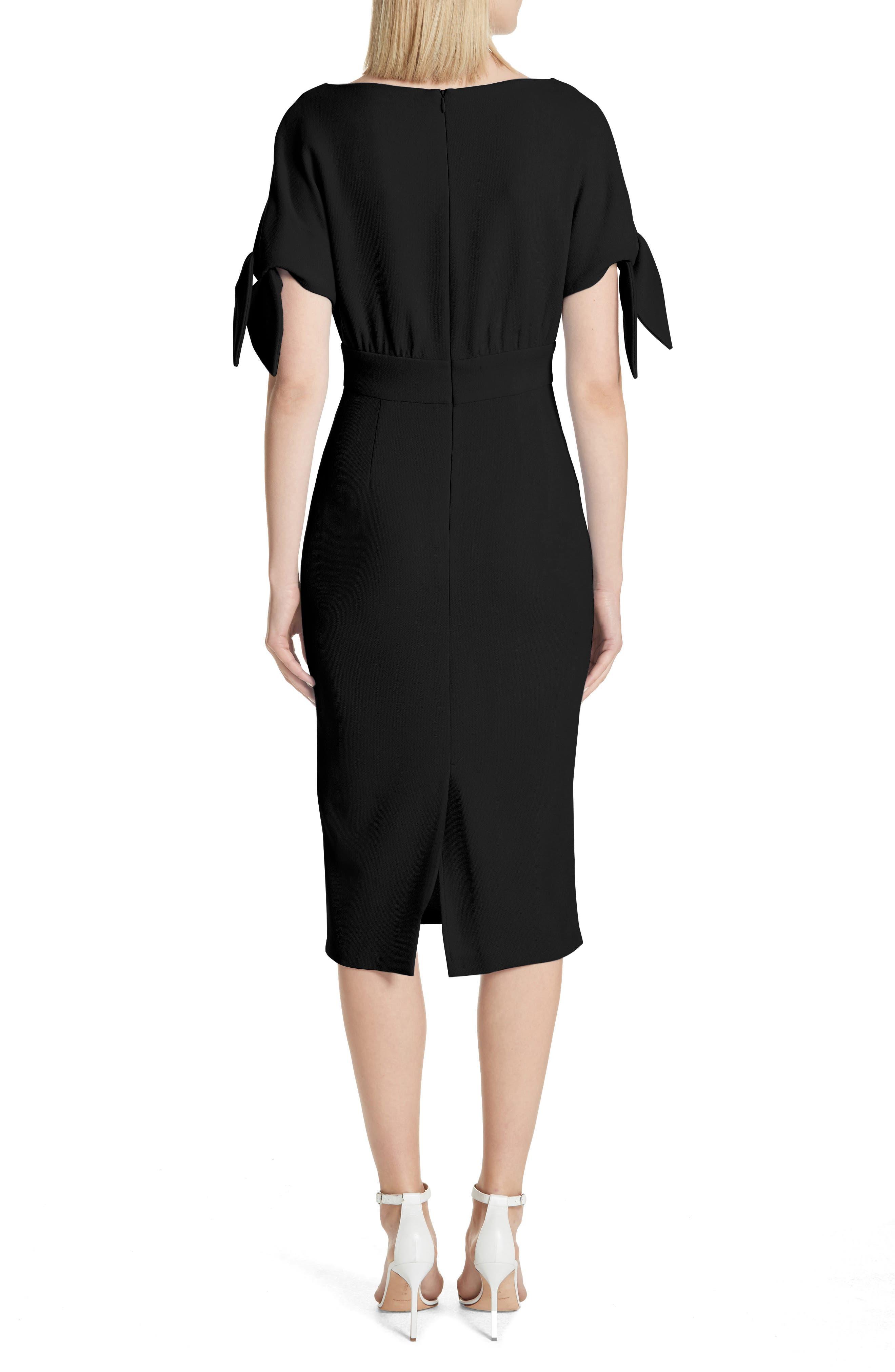 Tie Sleeve Wool Blend Sheath Dress,                             Alternate thumbnail 2, color,                             001