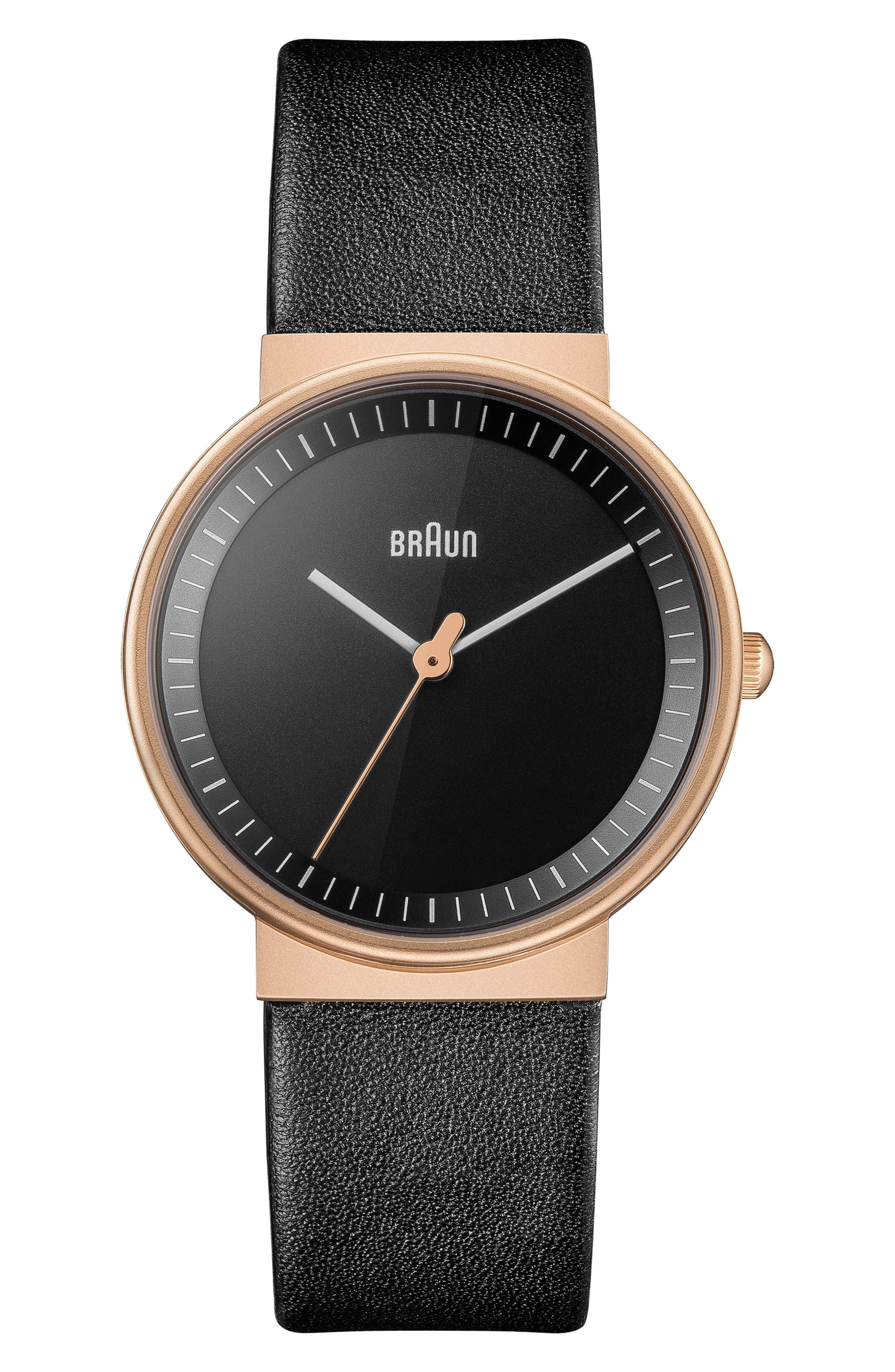 BRAUN Classic Leather Strap Watch, 33Mm in Black/ Rose Gold