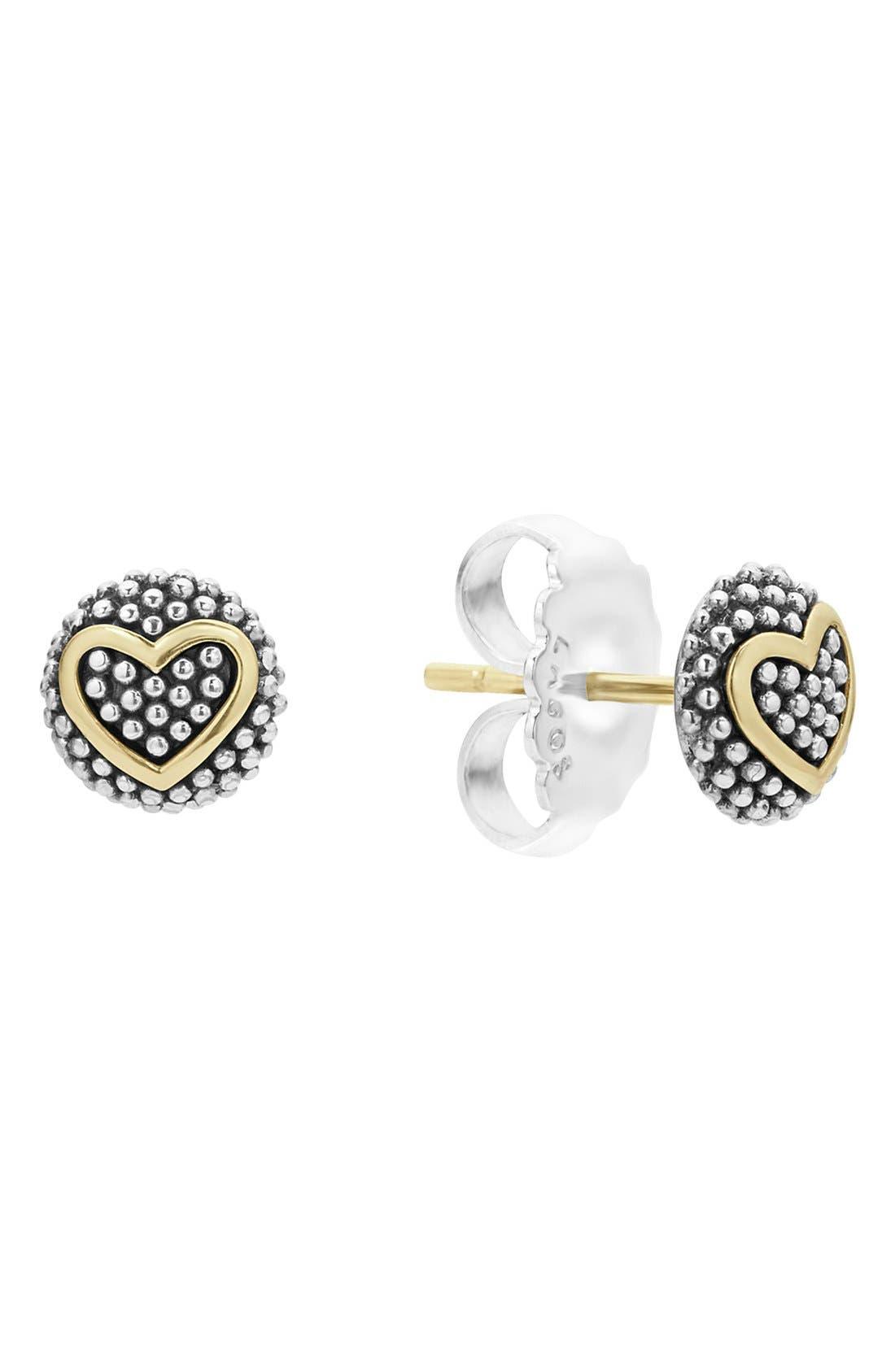 'Caviar' Heart Stud Earrings,                             Alternate thumbnail 3, color,                             SILVER/ GOLD