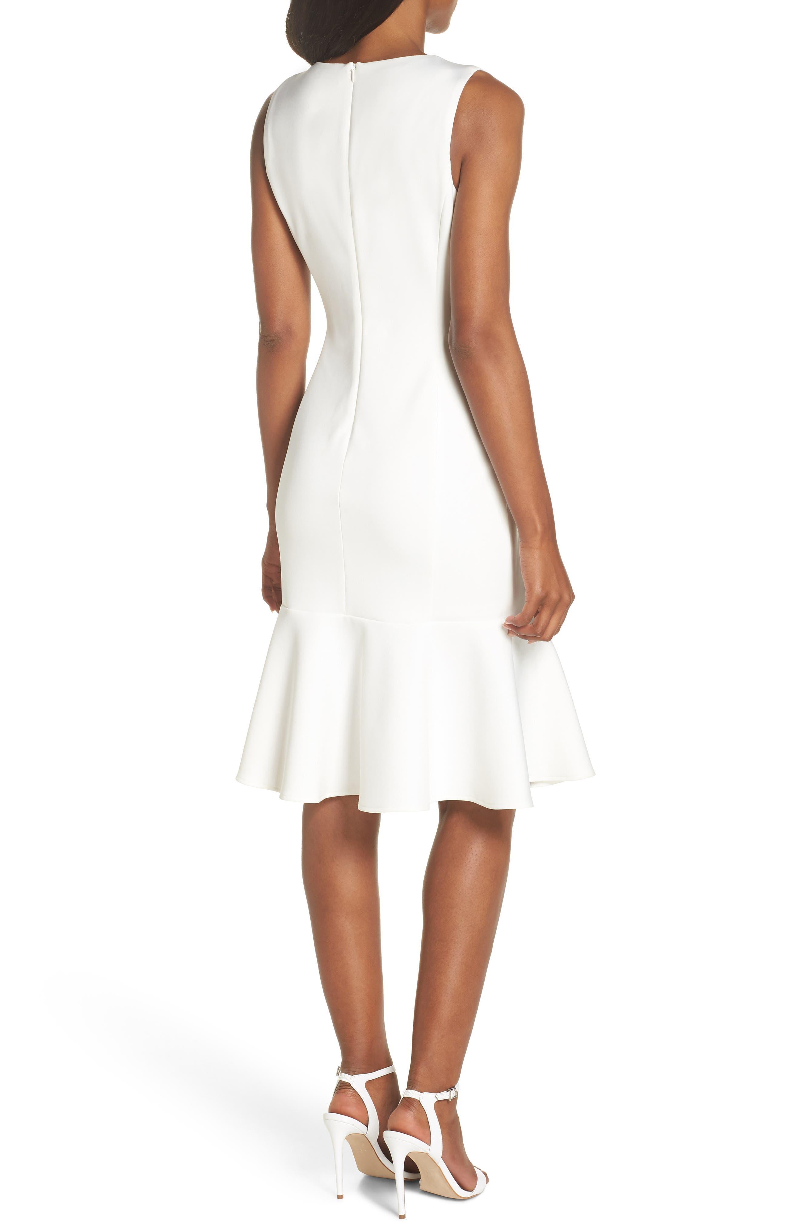 Sleeveless Flounce Hem Dress,                             Alternate thumbnail 2, color,                             OFF WHITE