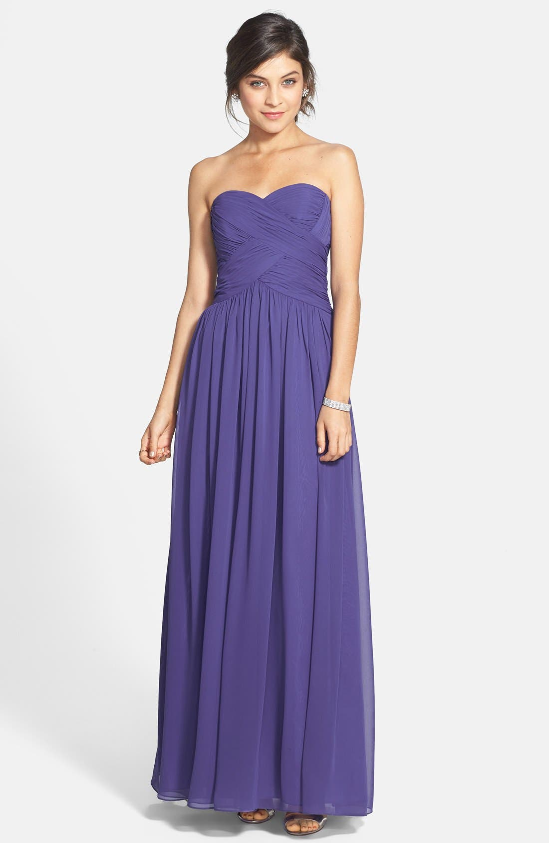 Strapless Ruched Chiffon Gown,                             Main thumbnail 4, color,
