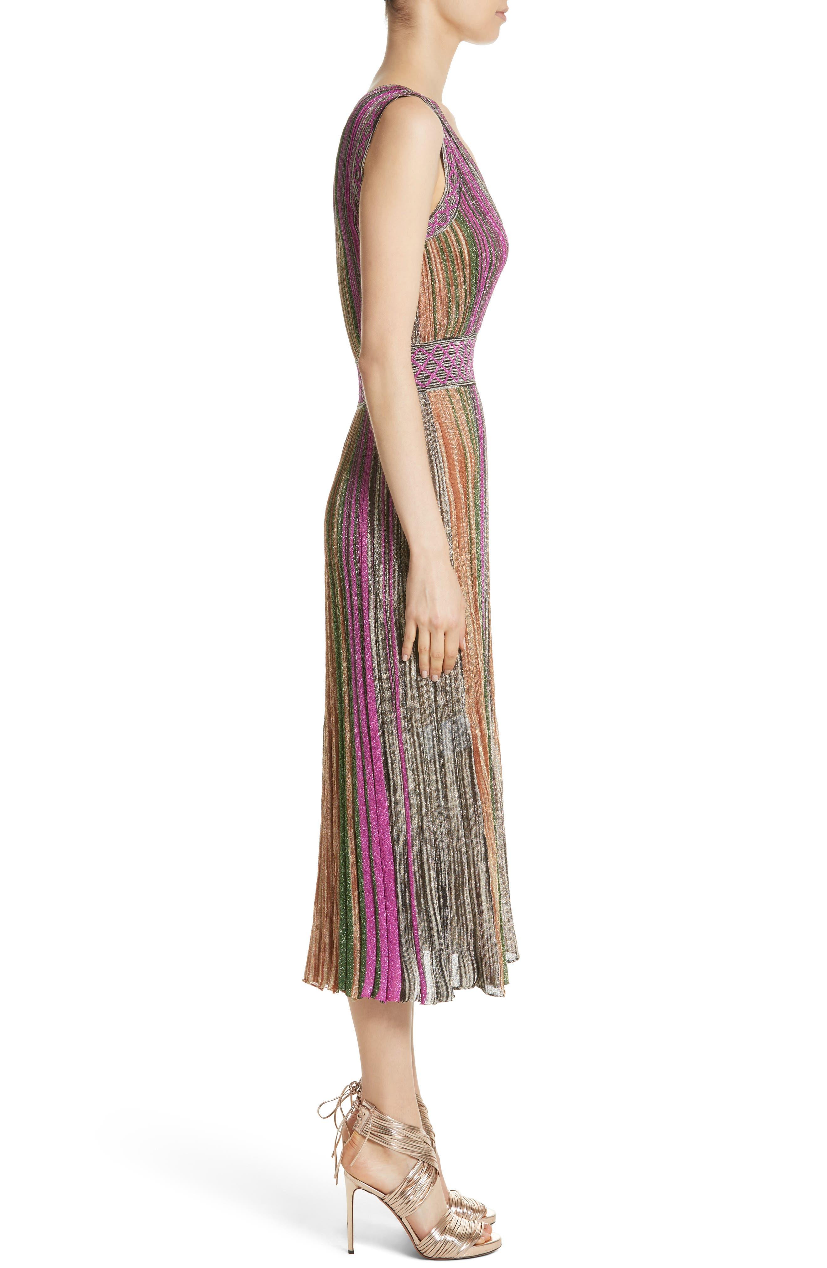 Reversible Metallic Stripe Knit Midi Dress,                             Alternate thumbnail 4, color,                             010