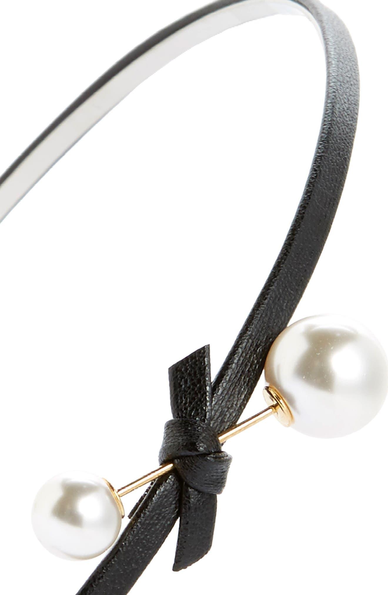 Imitation Pearl & Bow Headband,                             Alternate thumbnail 2, color,                             001