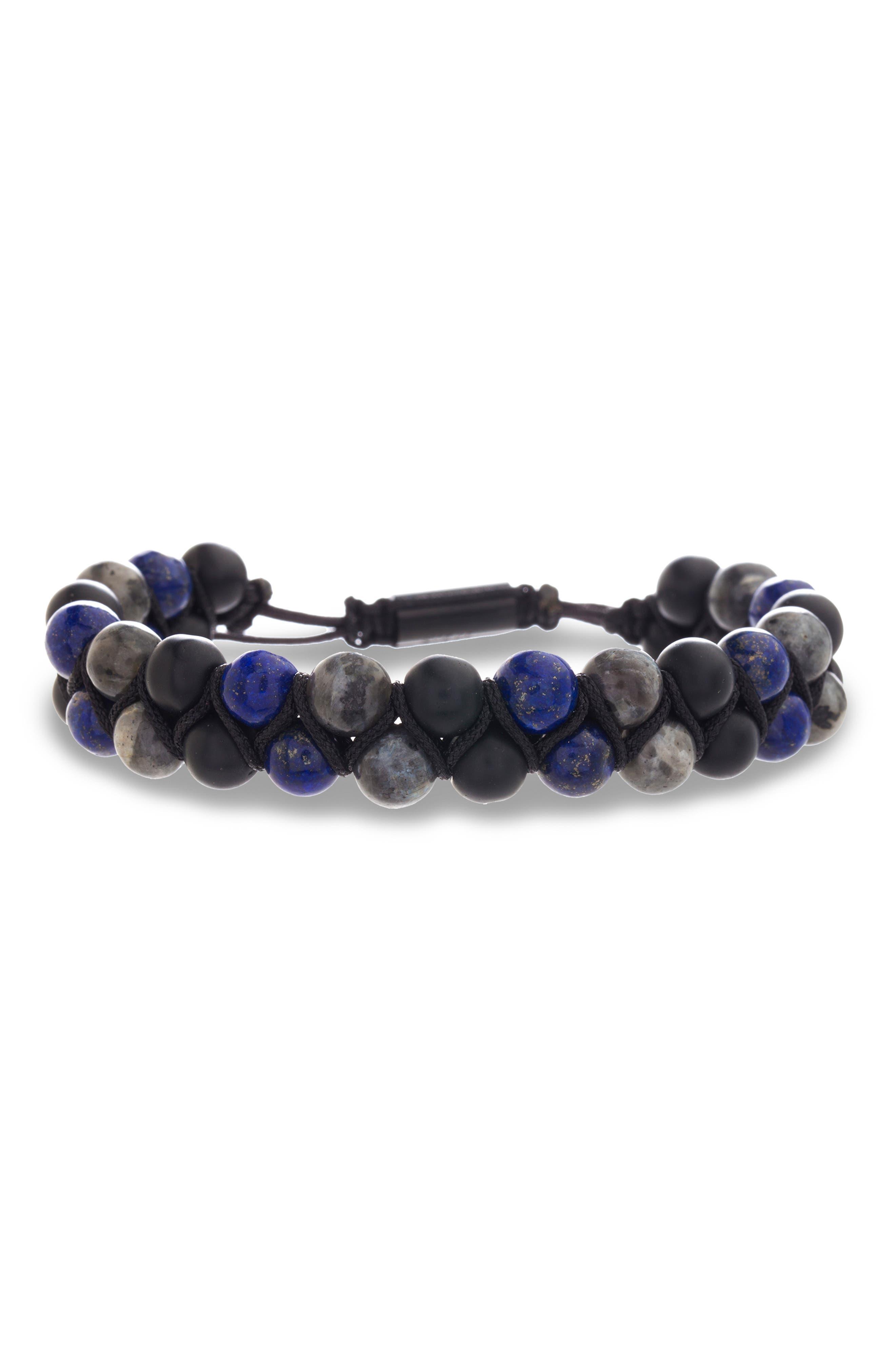 Stone Bead Bracelet, Main, color, BLUE