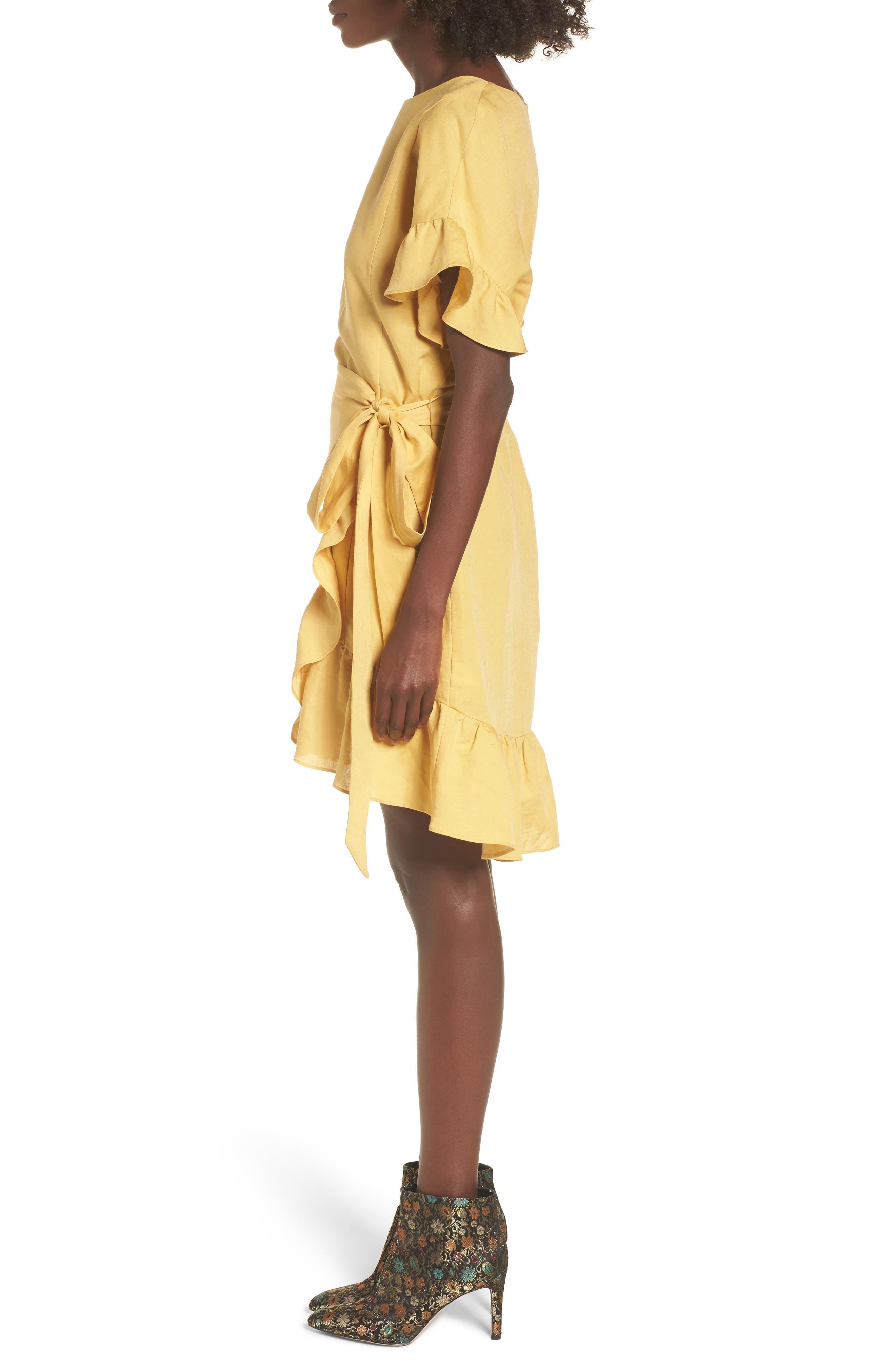 Ruffle Linen Blend Wrap Dress,                             Alternate thumbnail 3, color,                             700