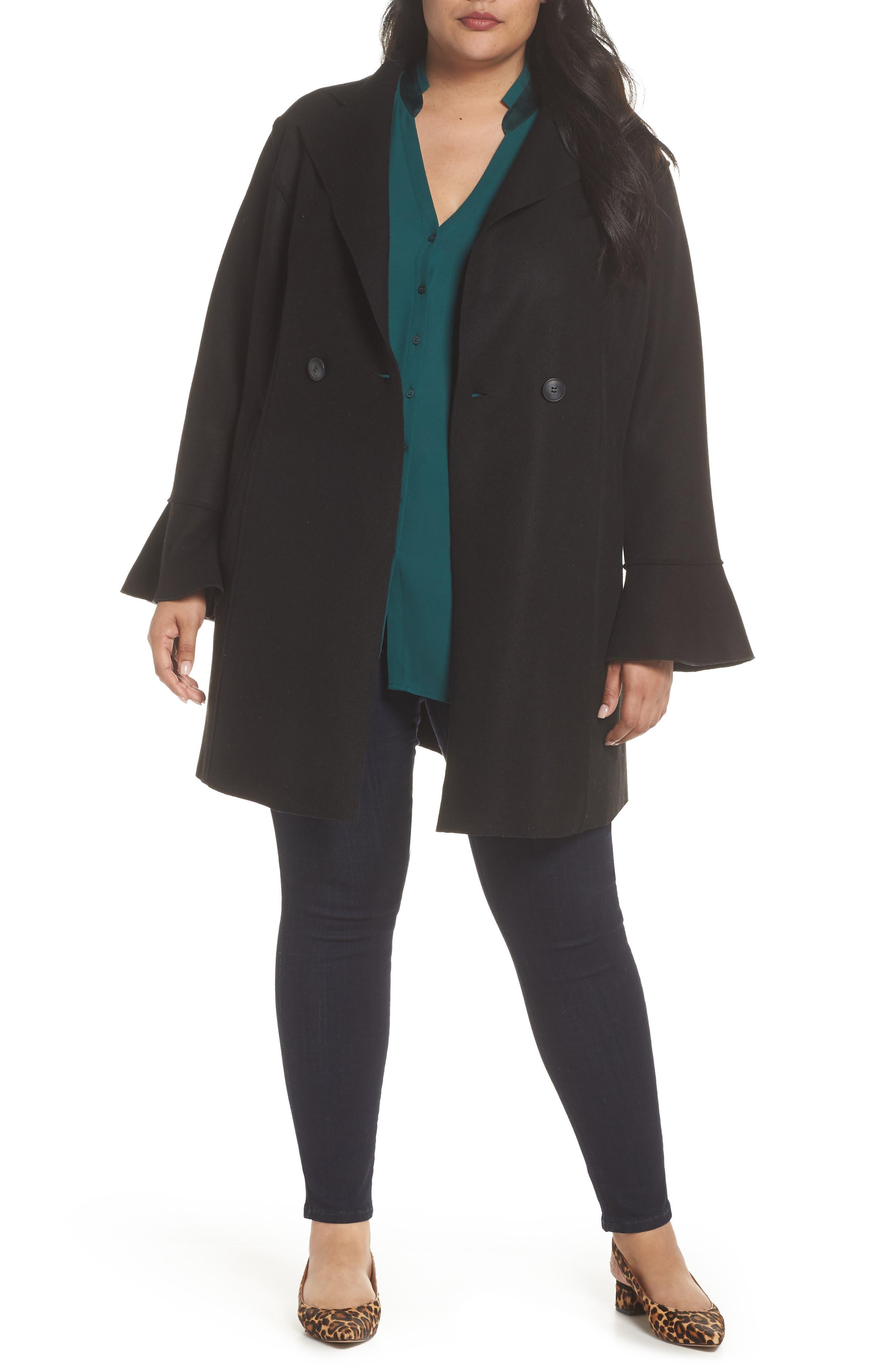 HALOGEN<SUP>®</SUP>,                             Raw Edge Bell Sleeve Coat,                             Main thumbnail 1, color,                             001