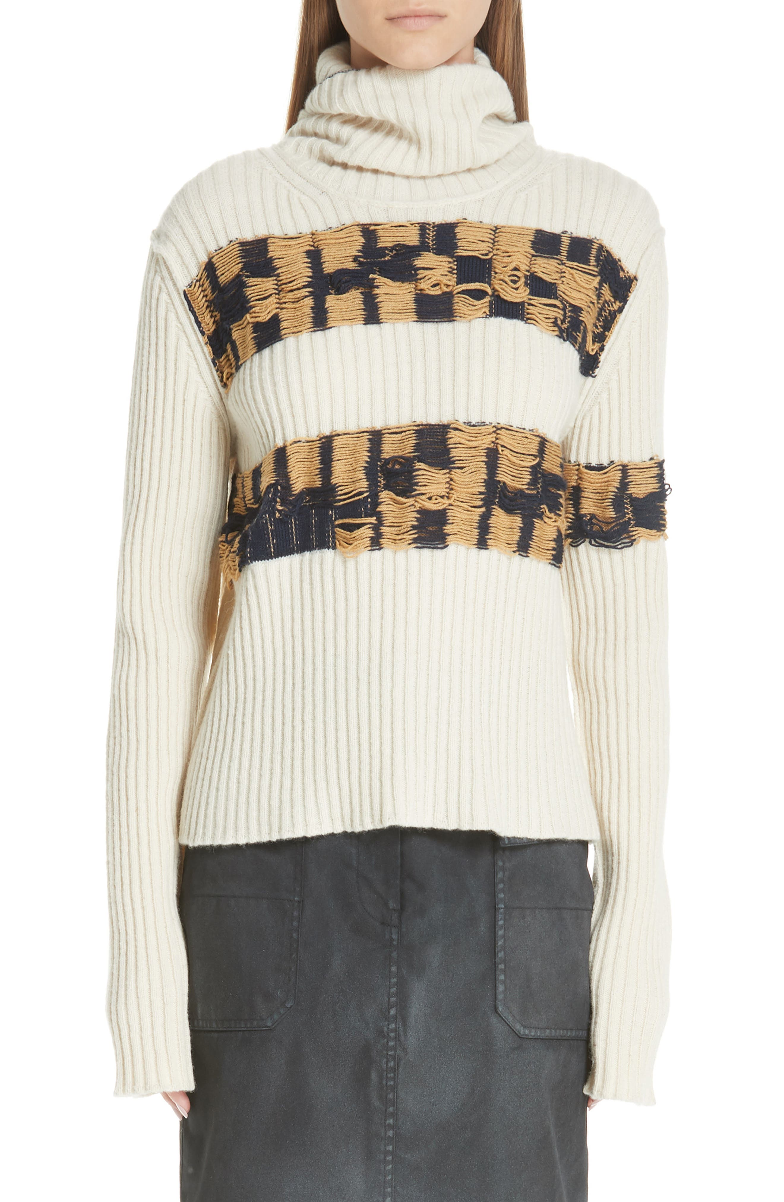 Quilt Jacquard Stripe Sweater,                         Main,                         color, ECRU HAY NAVY