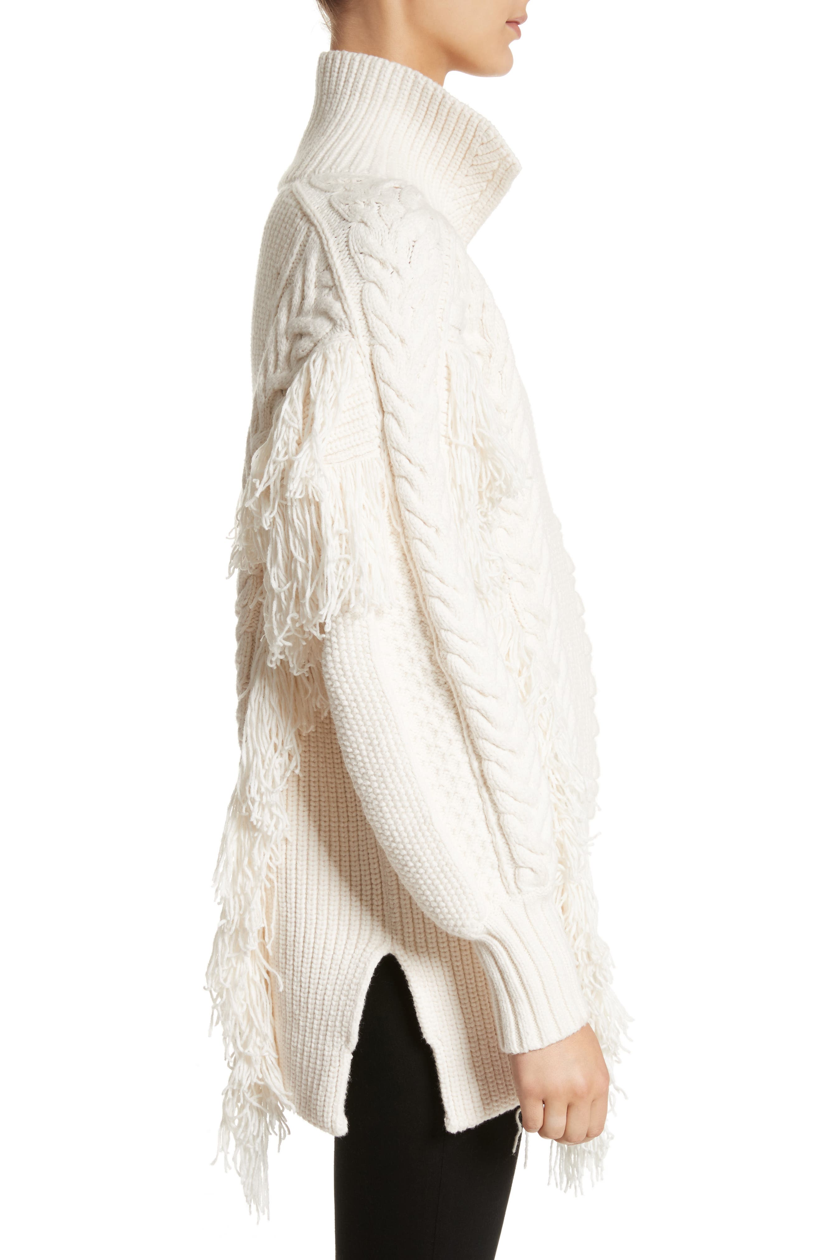 Borbore Fringed Cable Knit Sweater,                             Alternate thumbnail 3, color,                             103