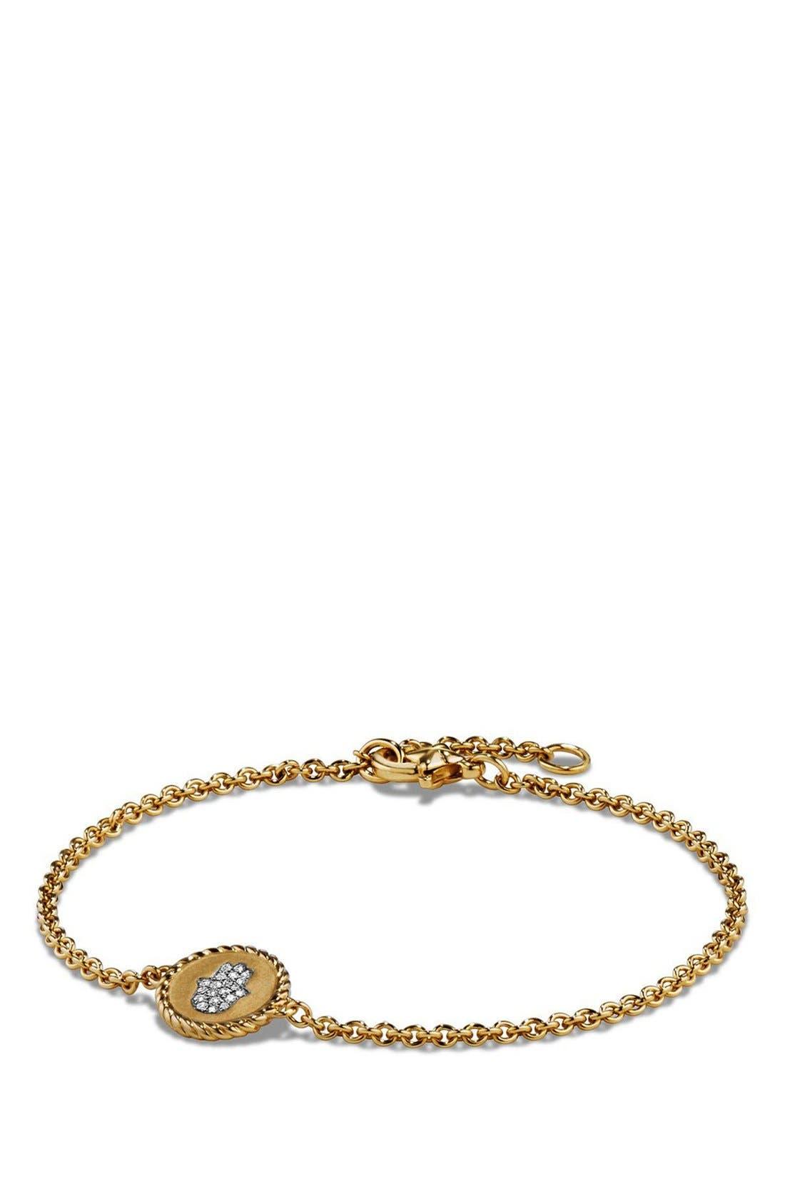 'Petite Pavé' Hamsa Bracelet with Diamonds in 18K Gold,                             Main thumbnail 1, color,                             GOLD