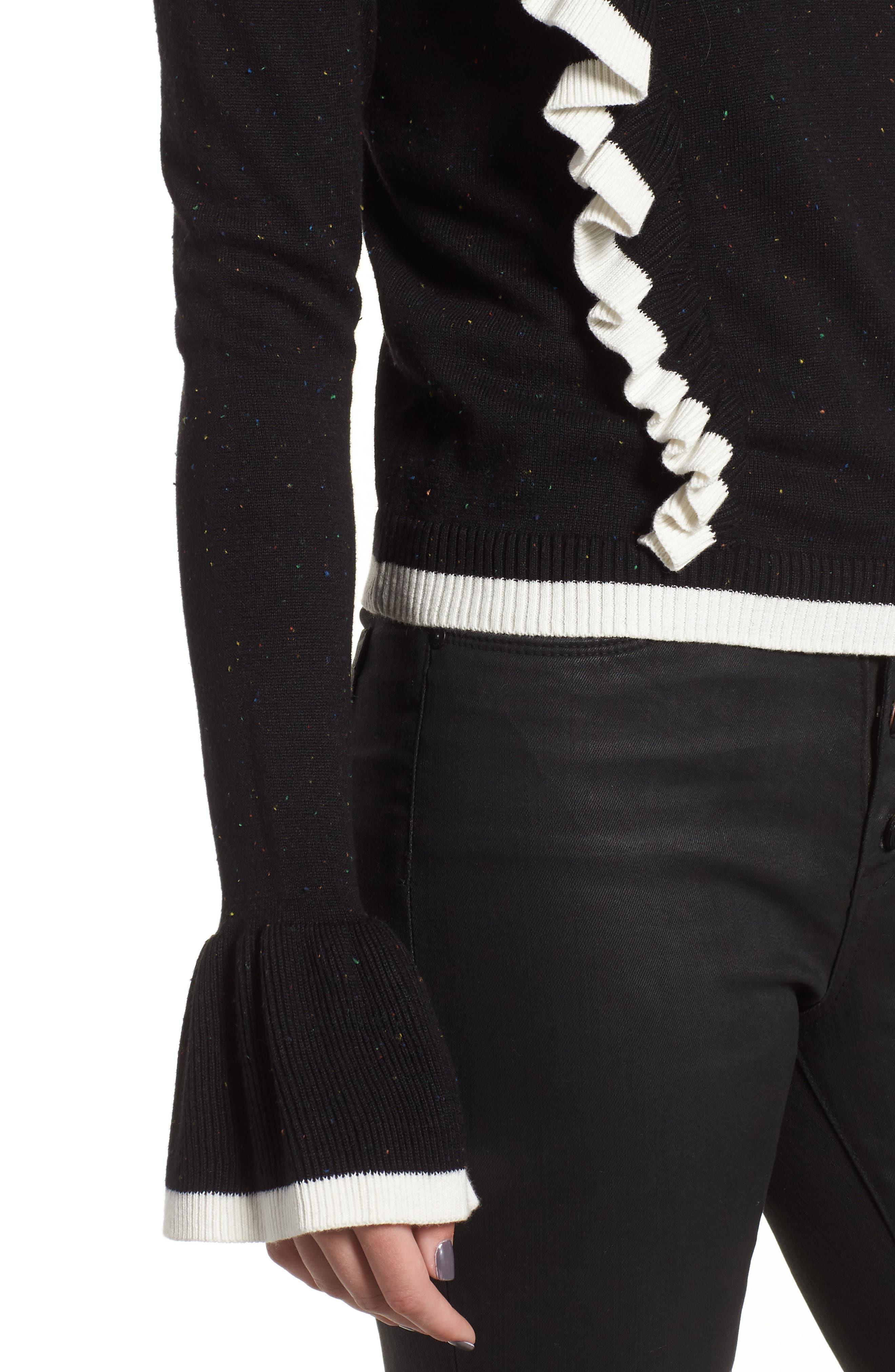 Transcript Ruffle Sweater,                             Alternate thumbnail 4, color,                             BLACK