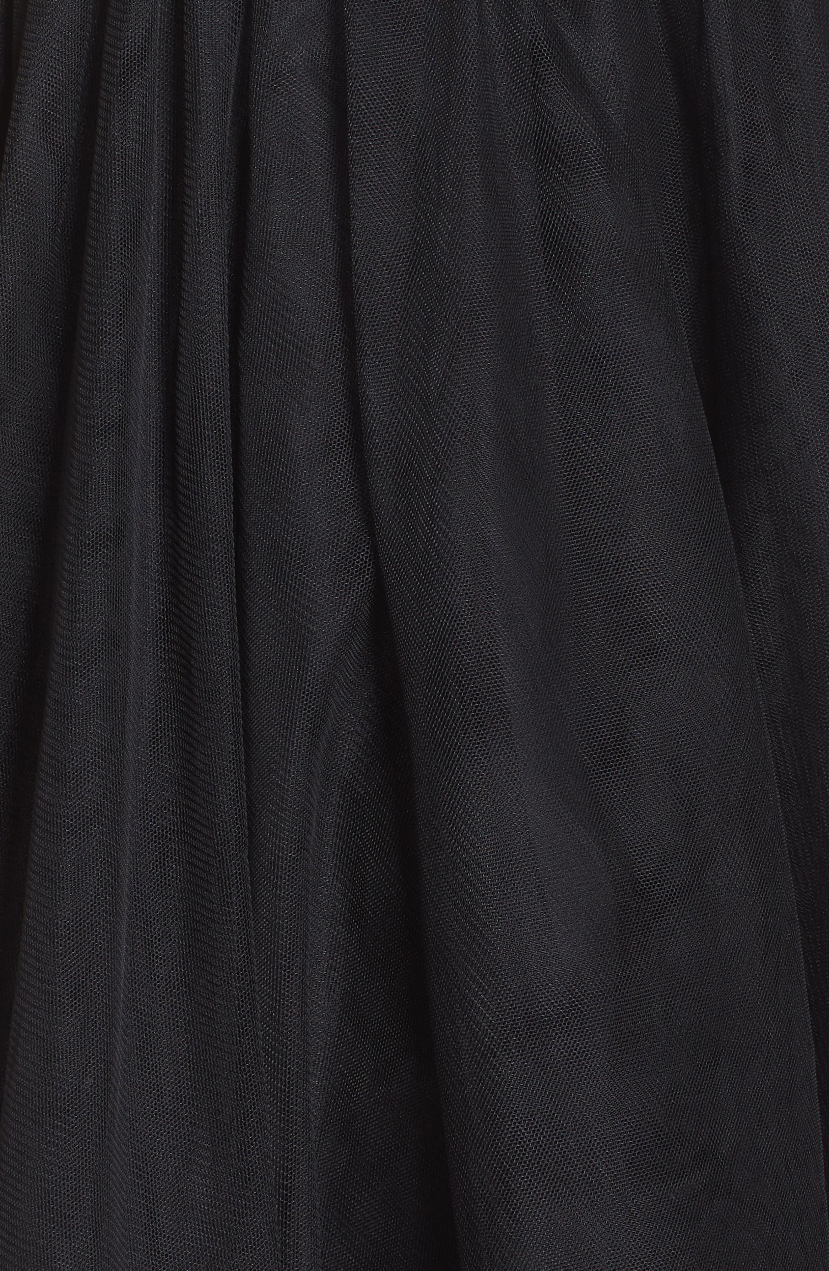 Appliqué Sweetheart Fit & Flare Dress,                             Alternate thumbnail 6, color,                             BLACK/ ROSE