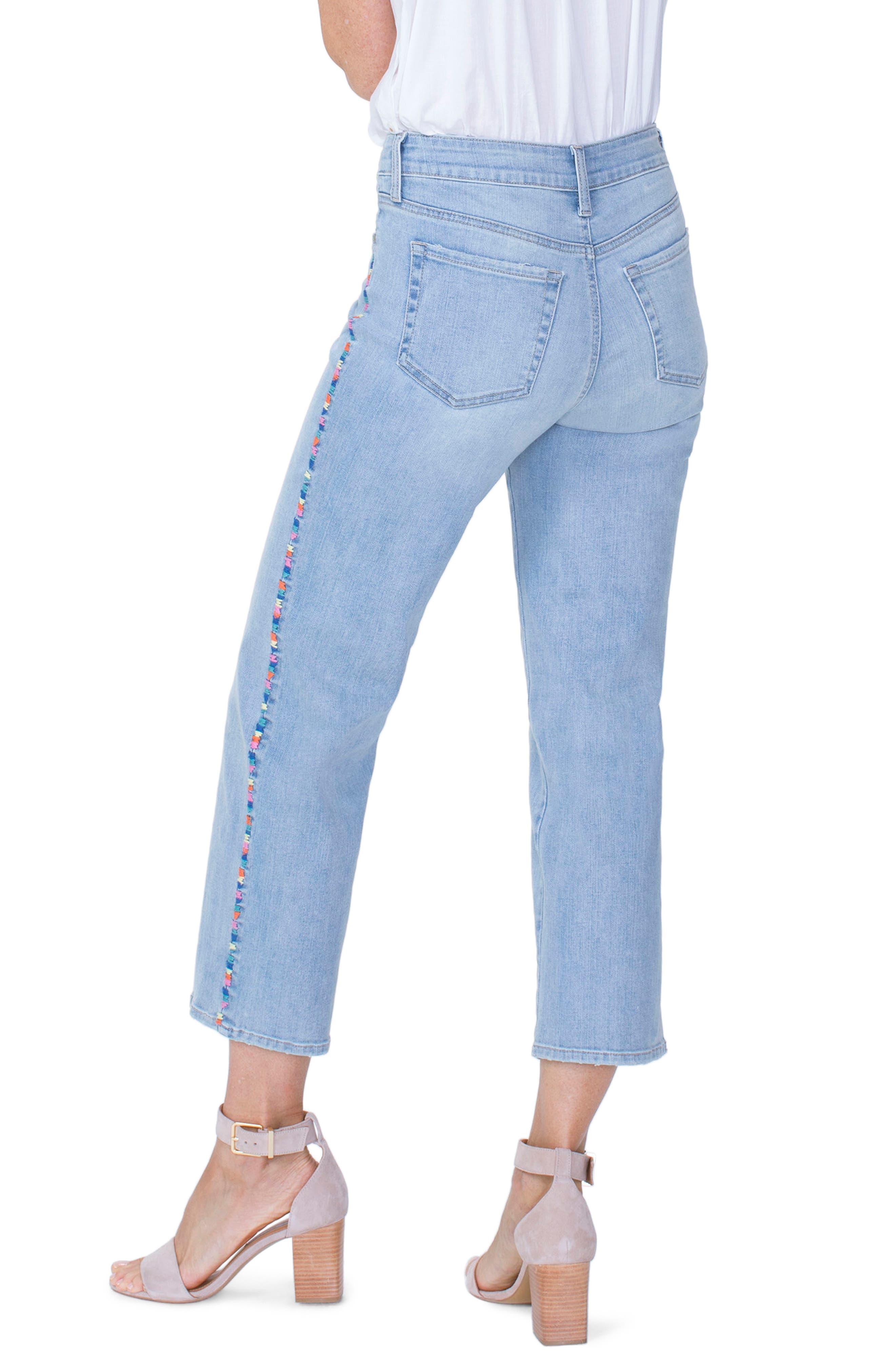 Jenna High Waist Embroidered Seam Ankle Straight Leg Jeans,                             Alternate thumbnail 2, color,                             423