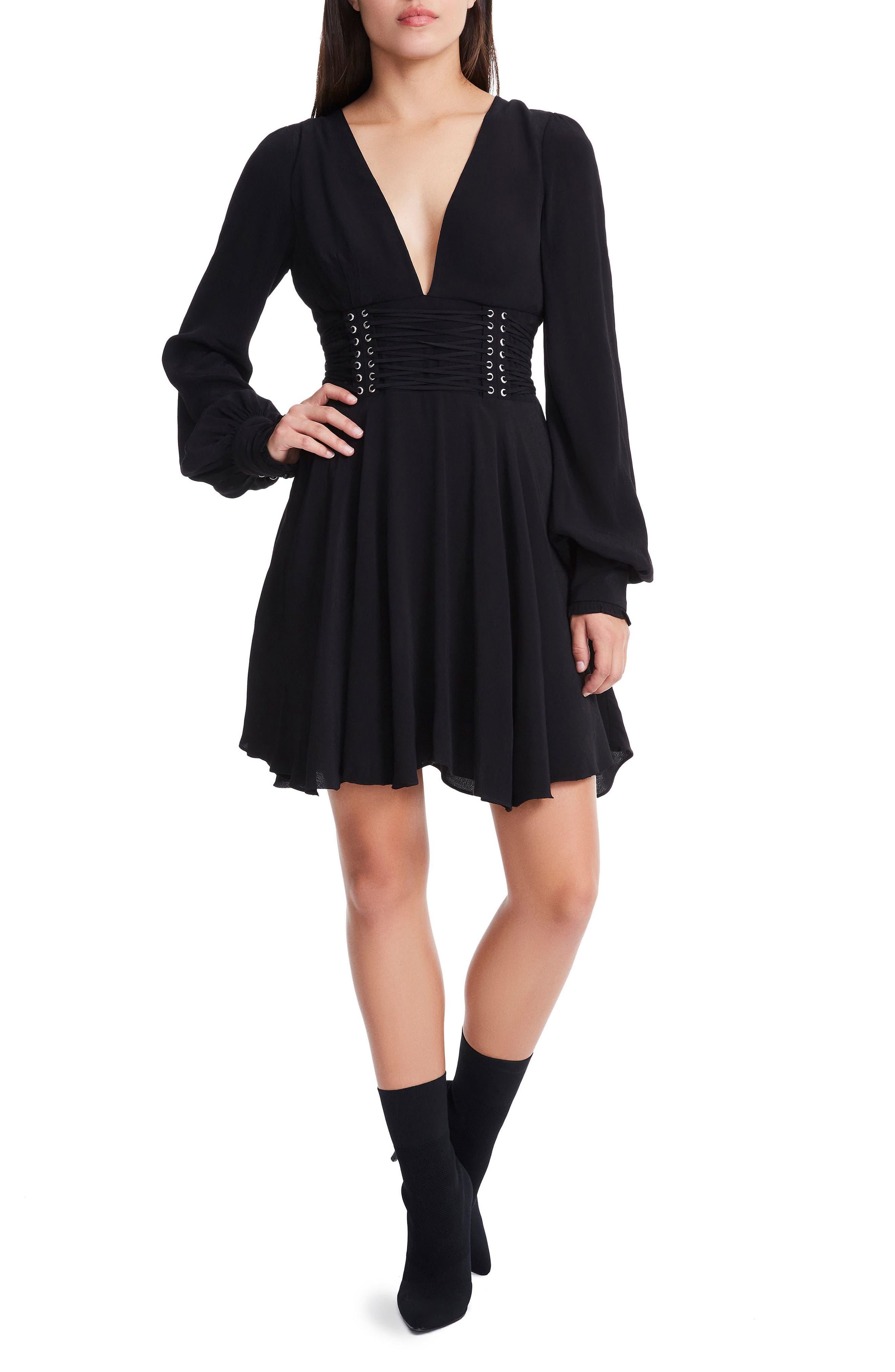 Hana Lantern Sleeve Minidress,                         Main,                         color, 001