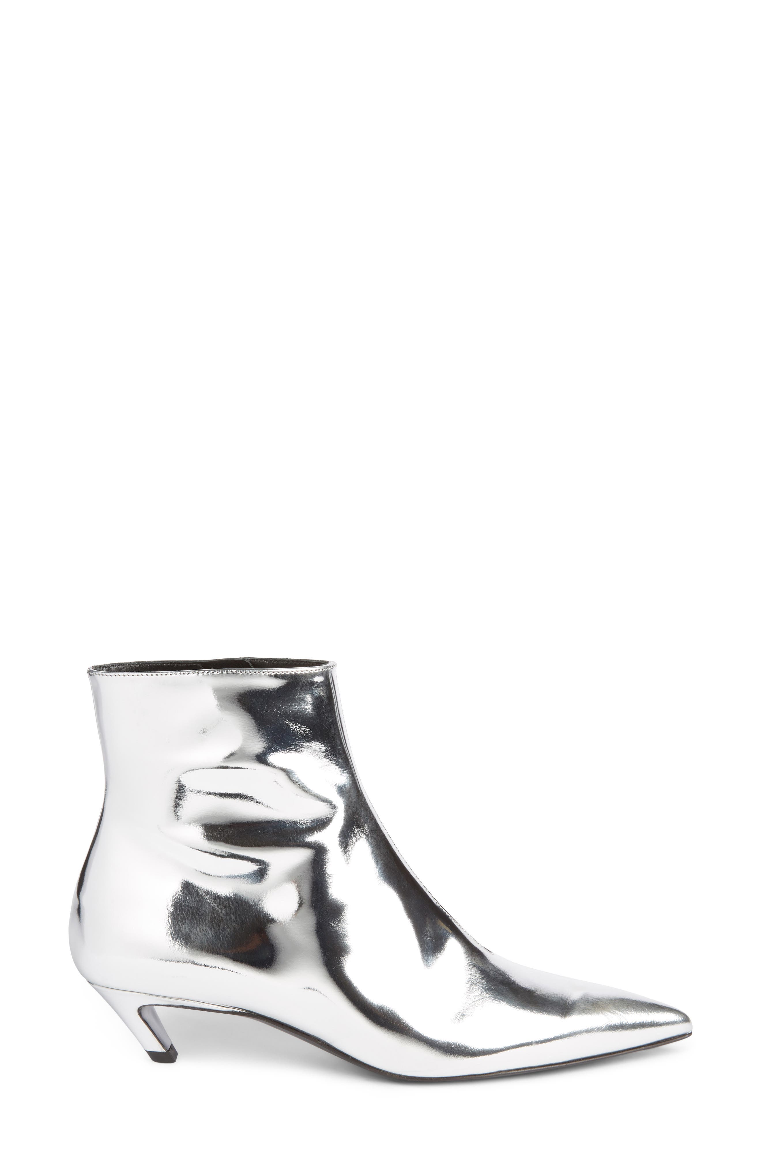 Metallic Pointy Toe Bootie,                             Alternate thumbnail 3, color,                             SILVER