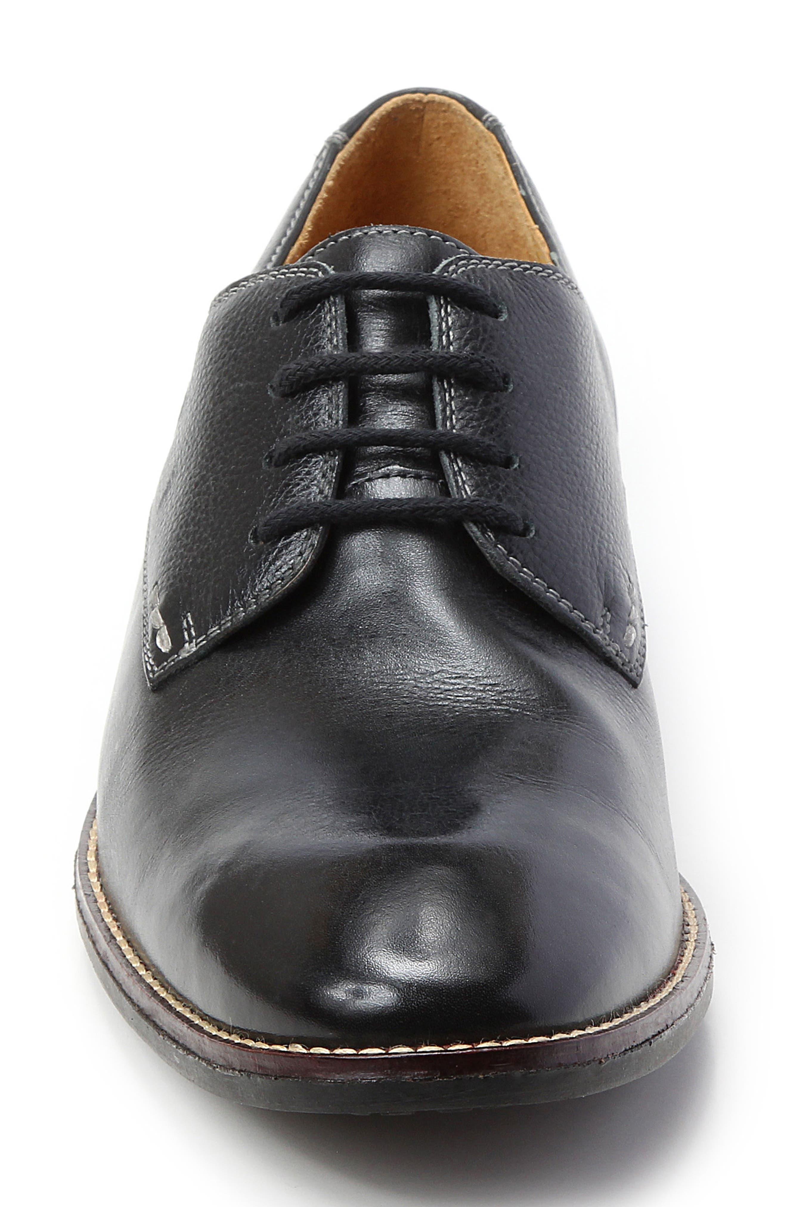 'Olsen' Plain Toe Derby,                             Alternate thumbnail 4, color,                             BLACK LEATHER