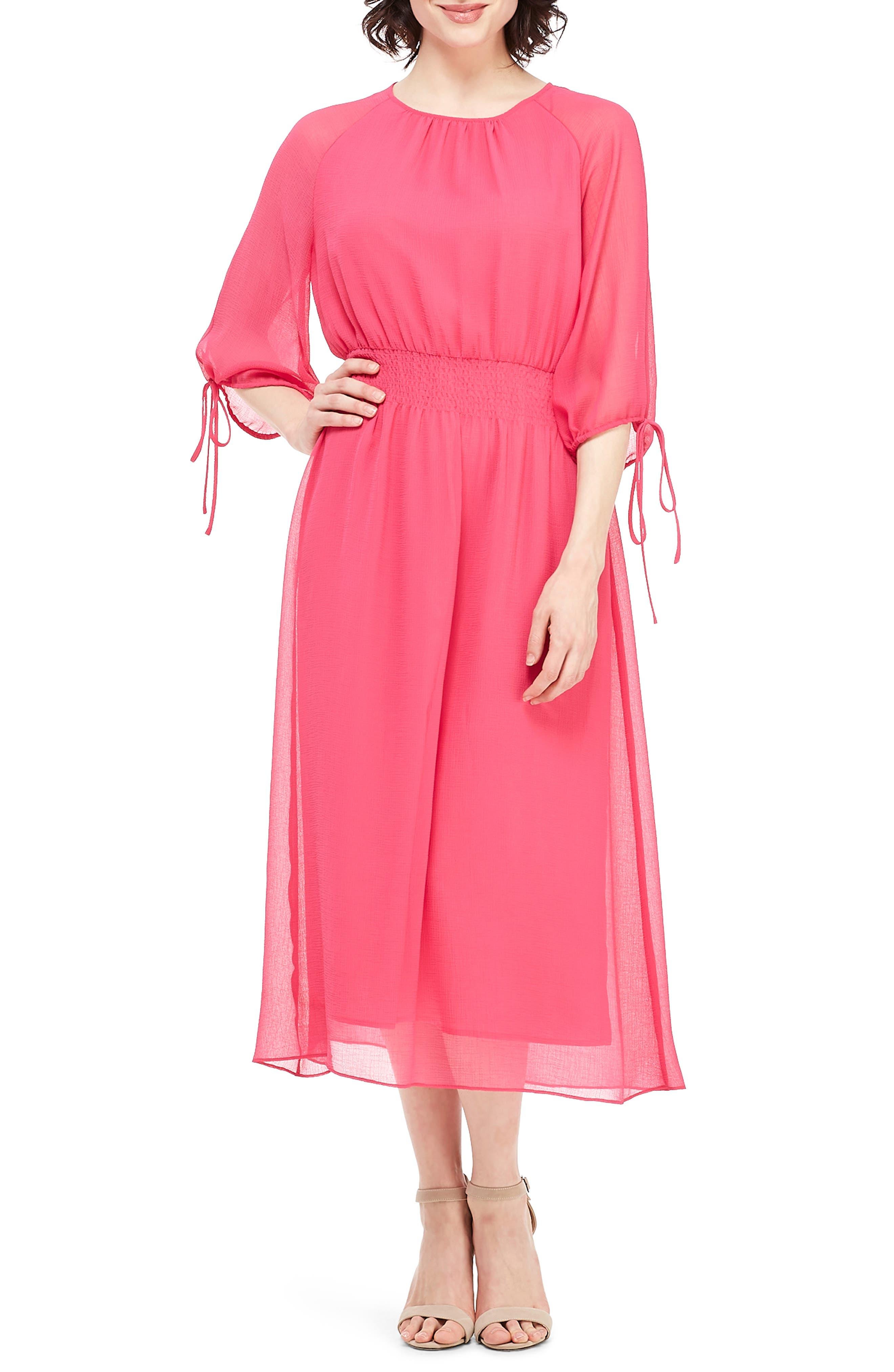 70s Dresses – Disco Dresses, Hippie Dresses, Wrap Dresses Womens Maggy London Smocked Chiffon Dress $138.00 AT vintagedancer.com