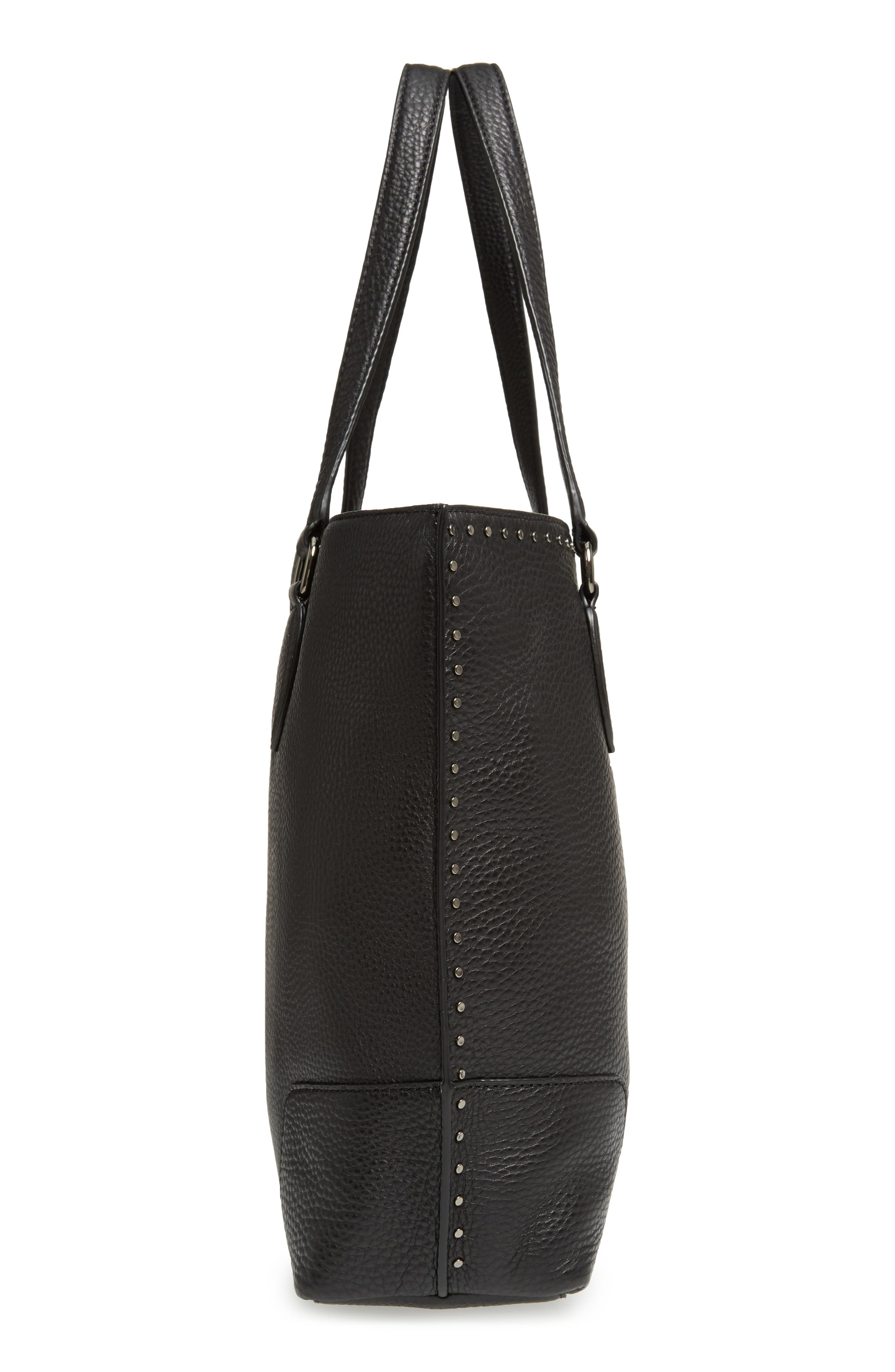 Moonwalking Leather Tote,                             Alternate thumbnail 5, color,                             001
