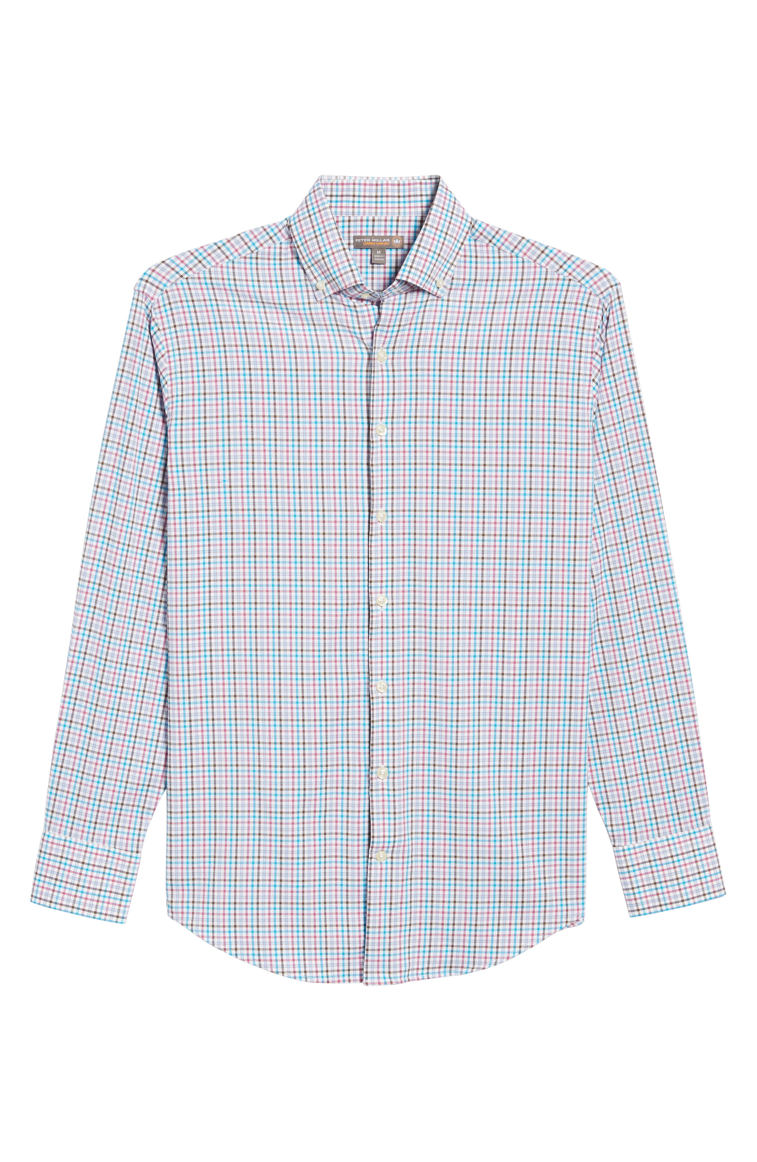Post Regular Fit Check Performance Sport Shirt,                             Alternate thumbnail 6, color,                             100