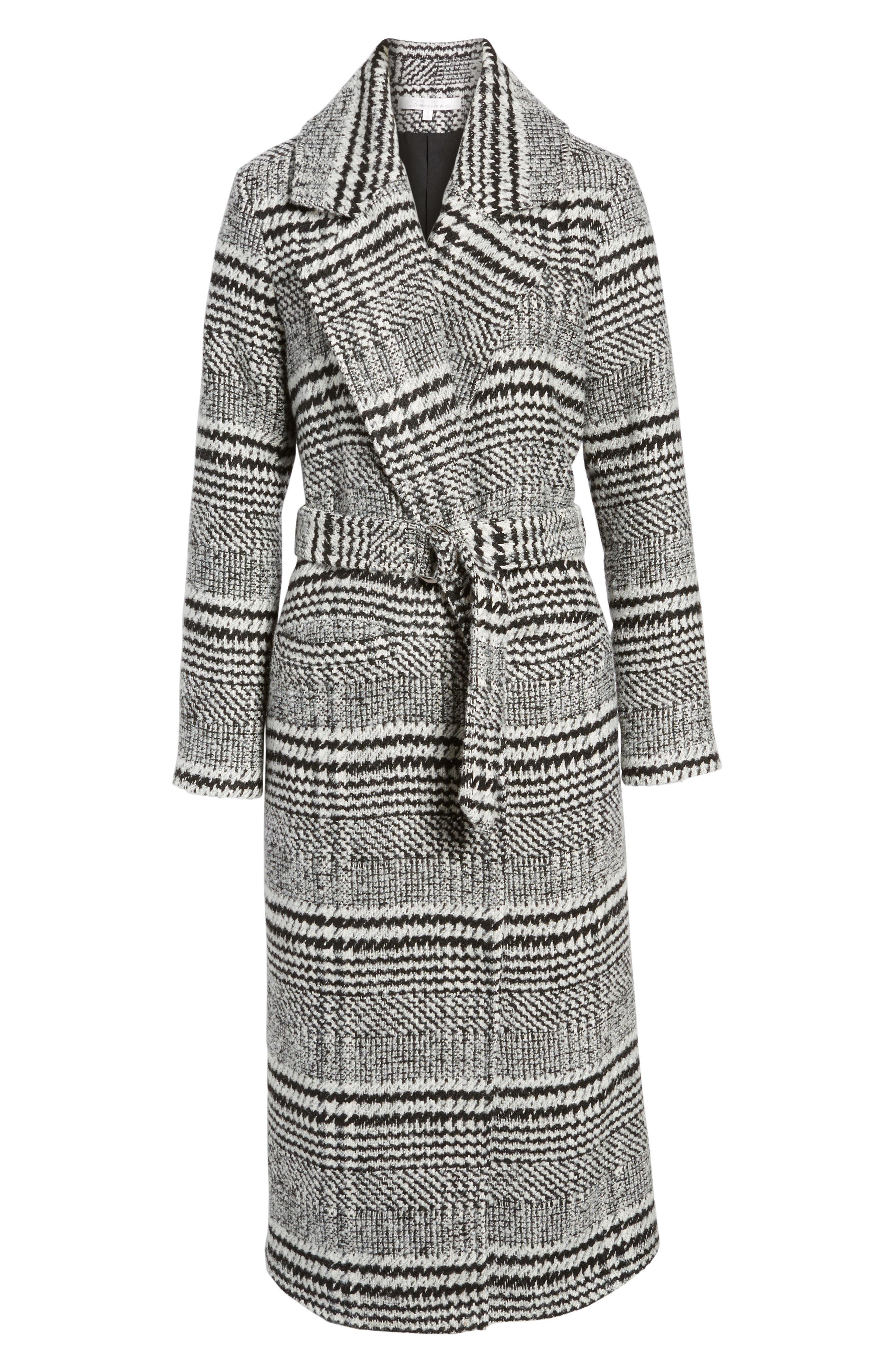 Sabra Longline Plaid Coat,                             Alternate thumbnail 5, color,                             001