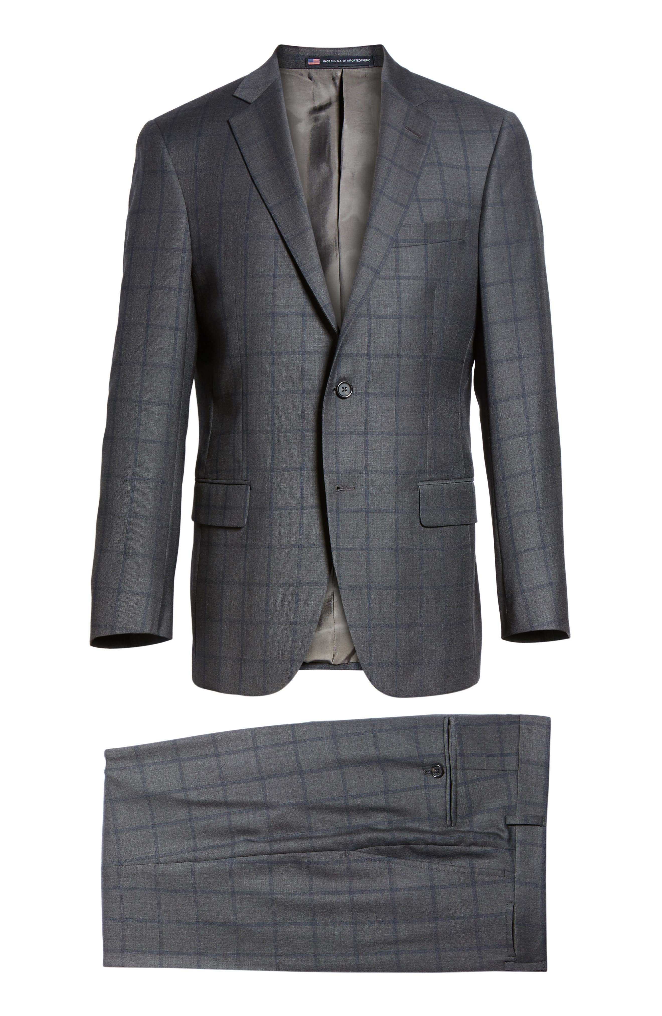 Classic Fit Windowpane Wool Suit,                             Alternate thumbnail 8, color,                             344