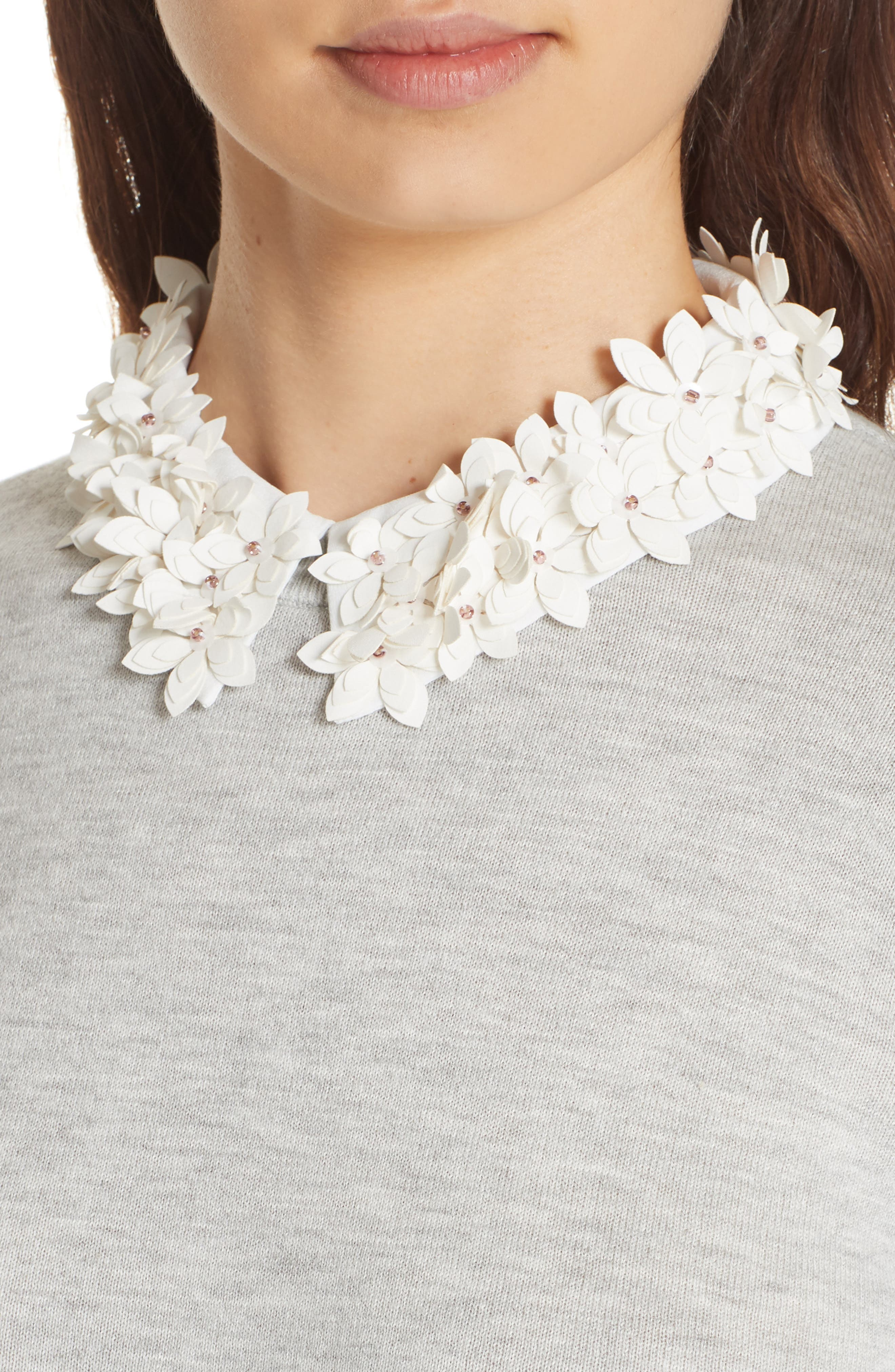 Nansea Floral Collar Tiered Hem Sweater,                             Alternate thumbnail 4, color,                             030