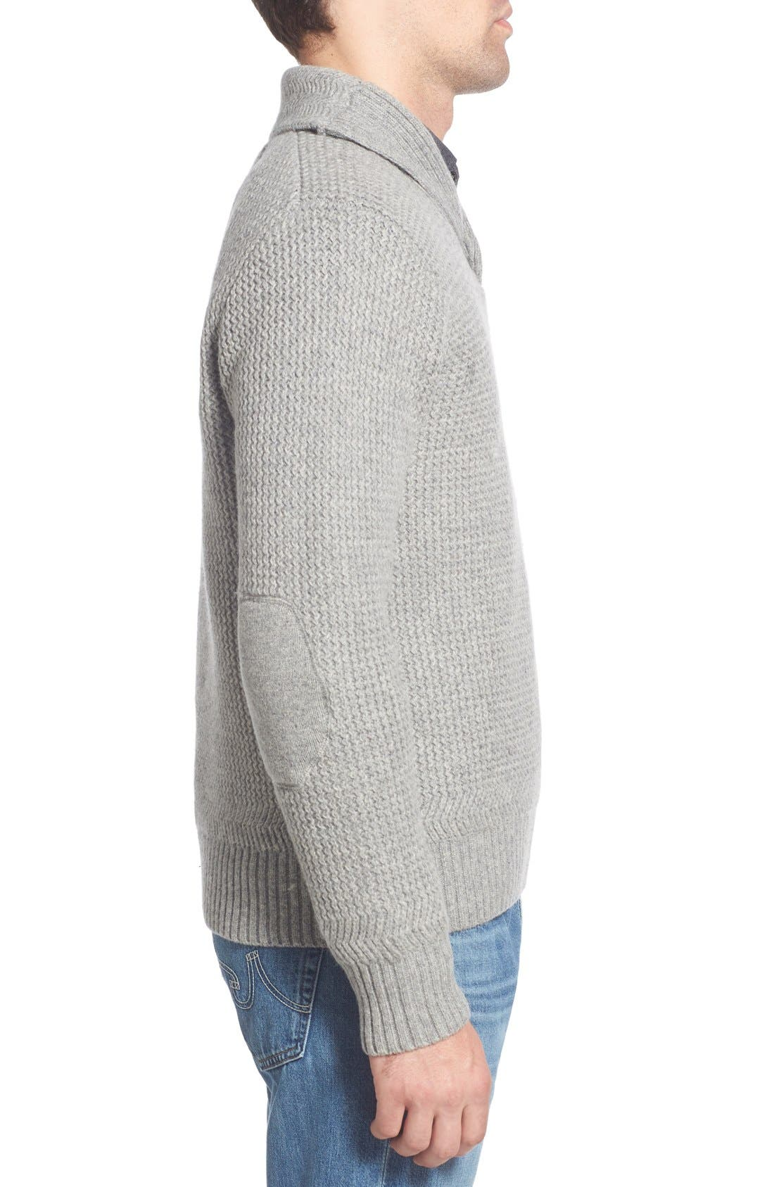 Regular Fit Shawl Collar Sweater,                             Alternate thumbnail 3, color,                             023