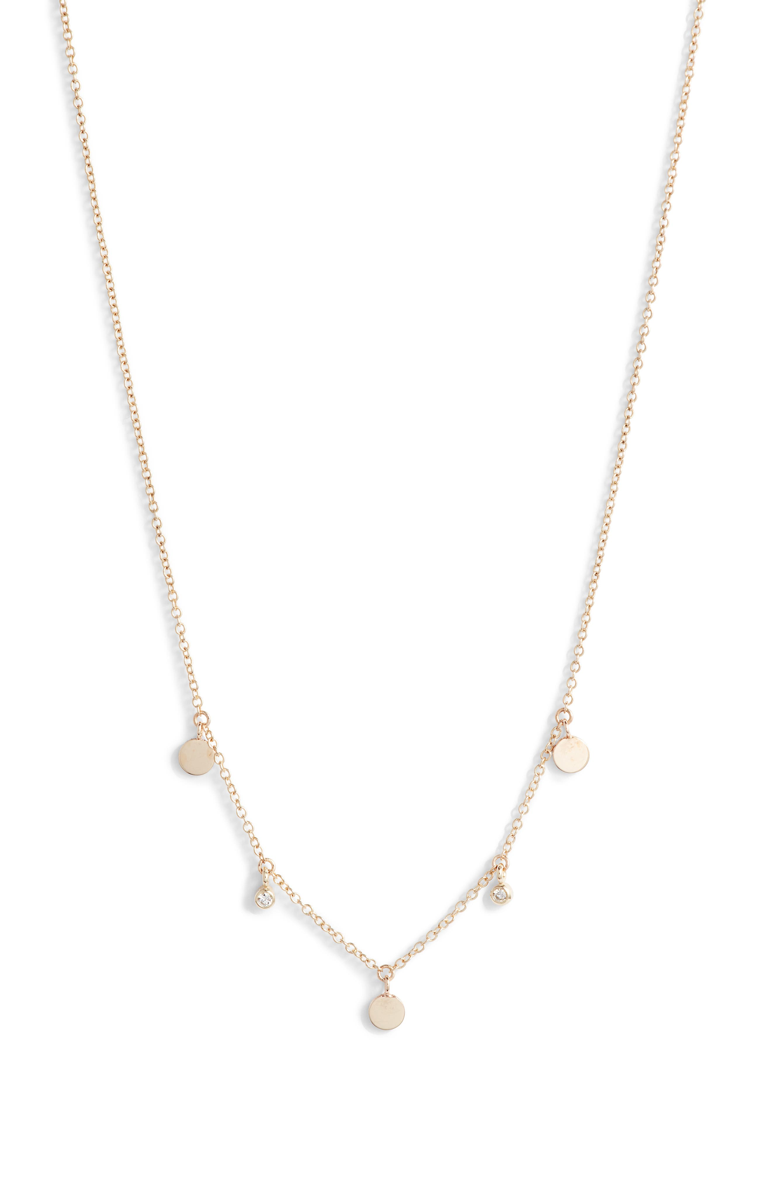 Zoe Chicco Itty Bitty Diamond & Round Disc Station Necklace