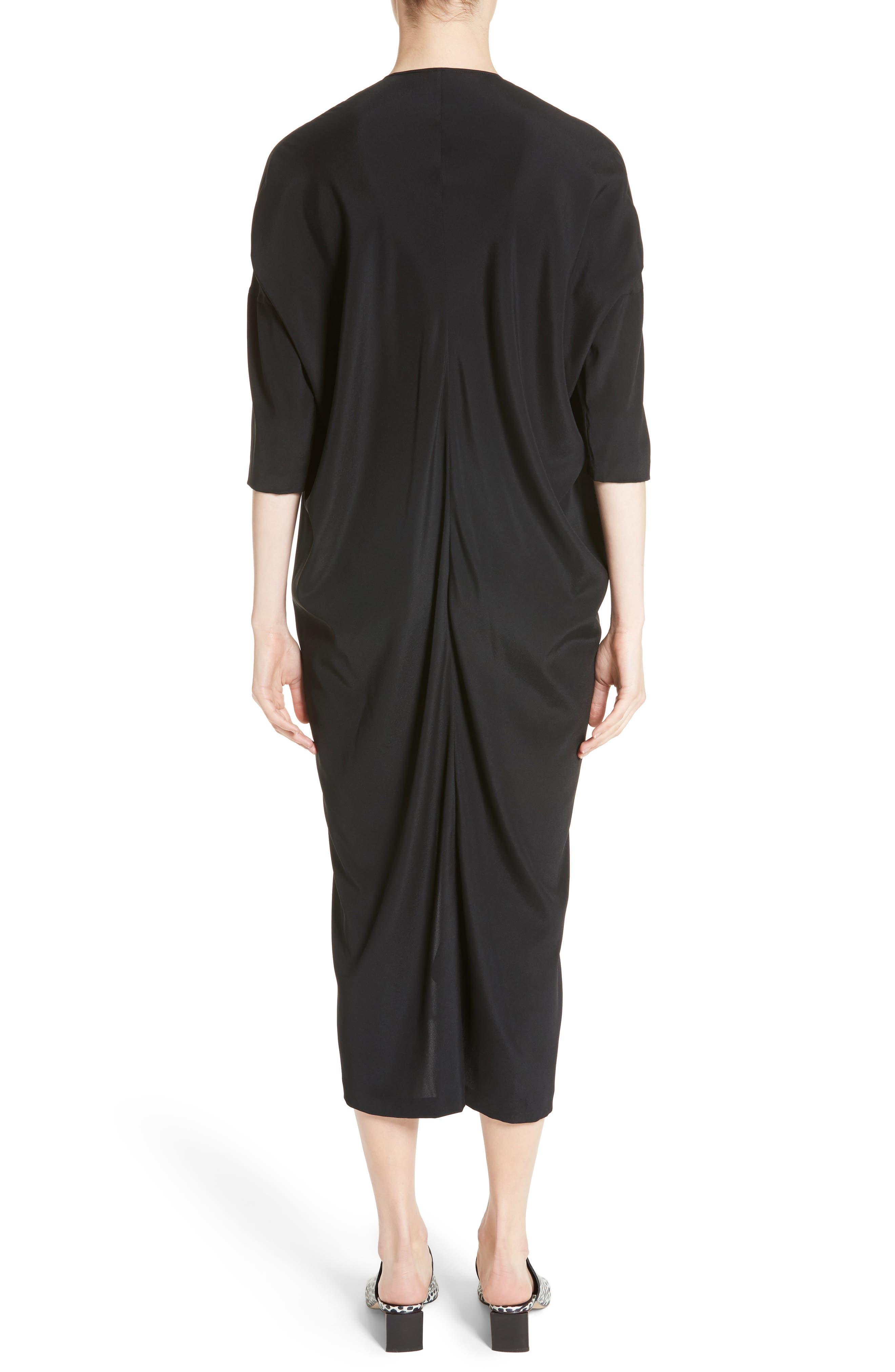Koya Stretch Silk Charmeuse Dress,                             Alternate thumbnail 2, color,                             001