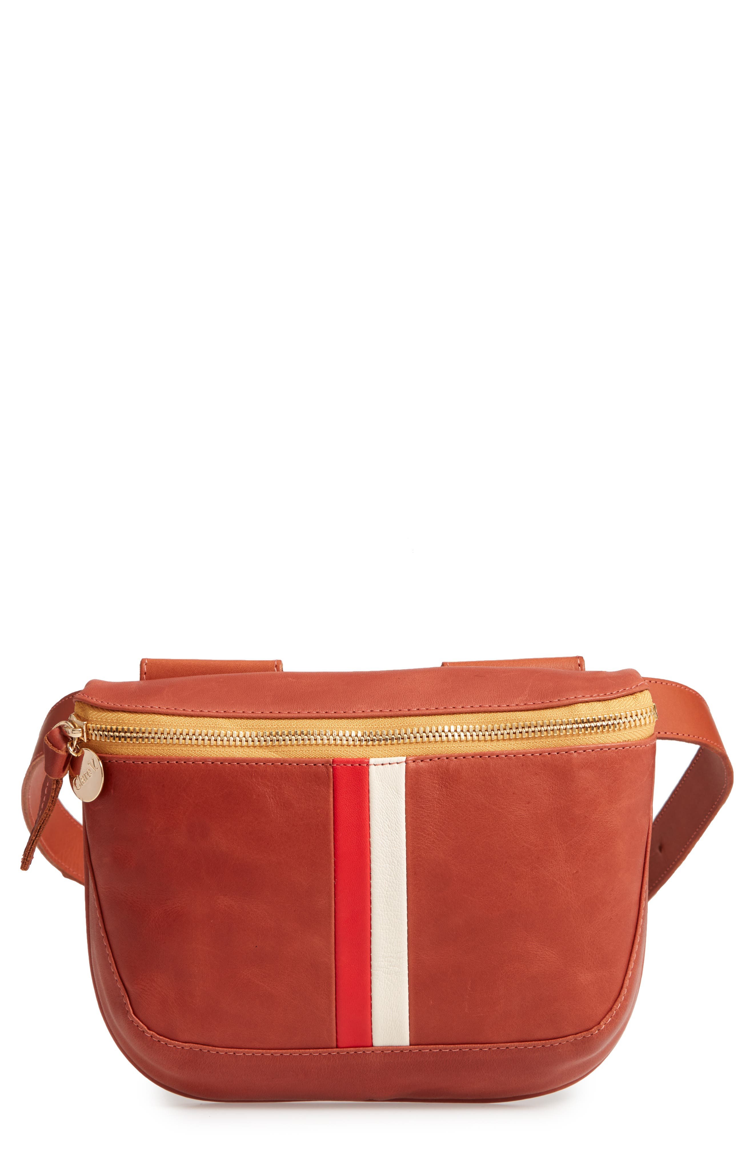 CLARE V Leather Fanny Pack - Brown in Cognac Veg Stripe