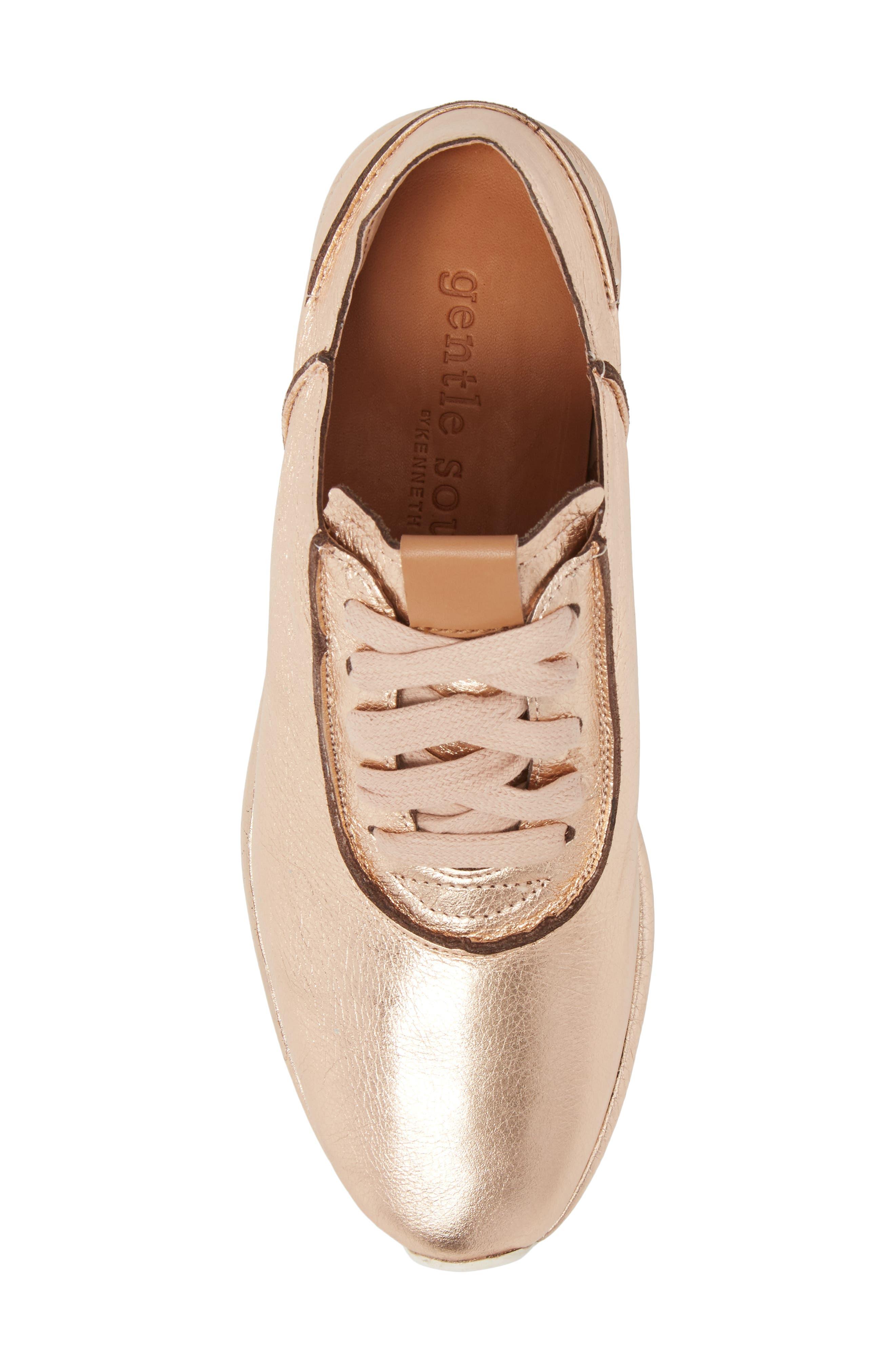 Raina Sneaker,                             Alternate thumbnail 5, color,                             ROSE GOLD METALLIC LEATHER