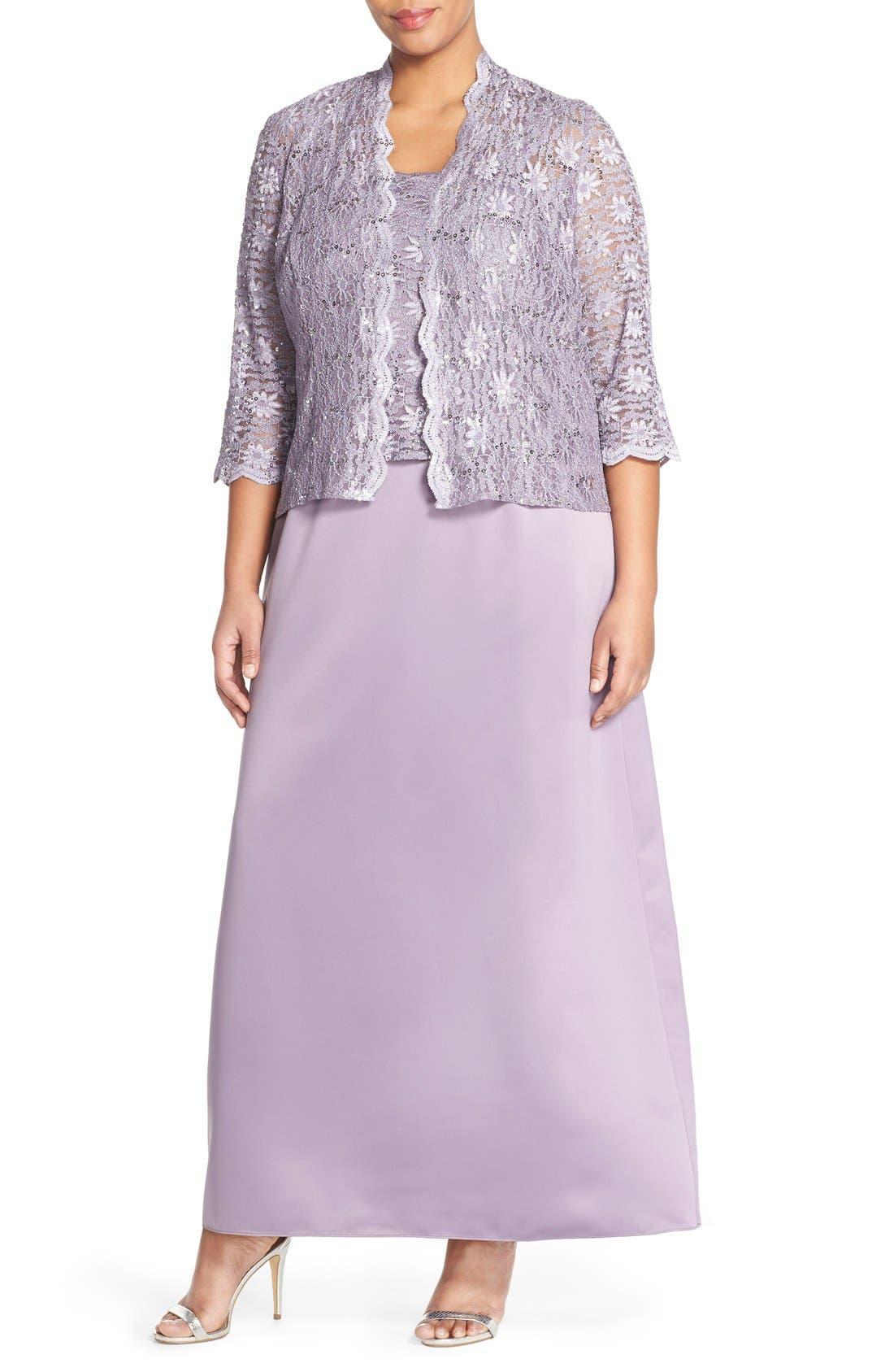Alex Evening A-Line Gown & Lace Jacket,                             Main thumbnail 2, color,