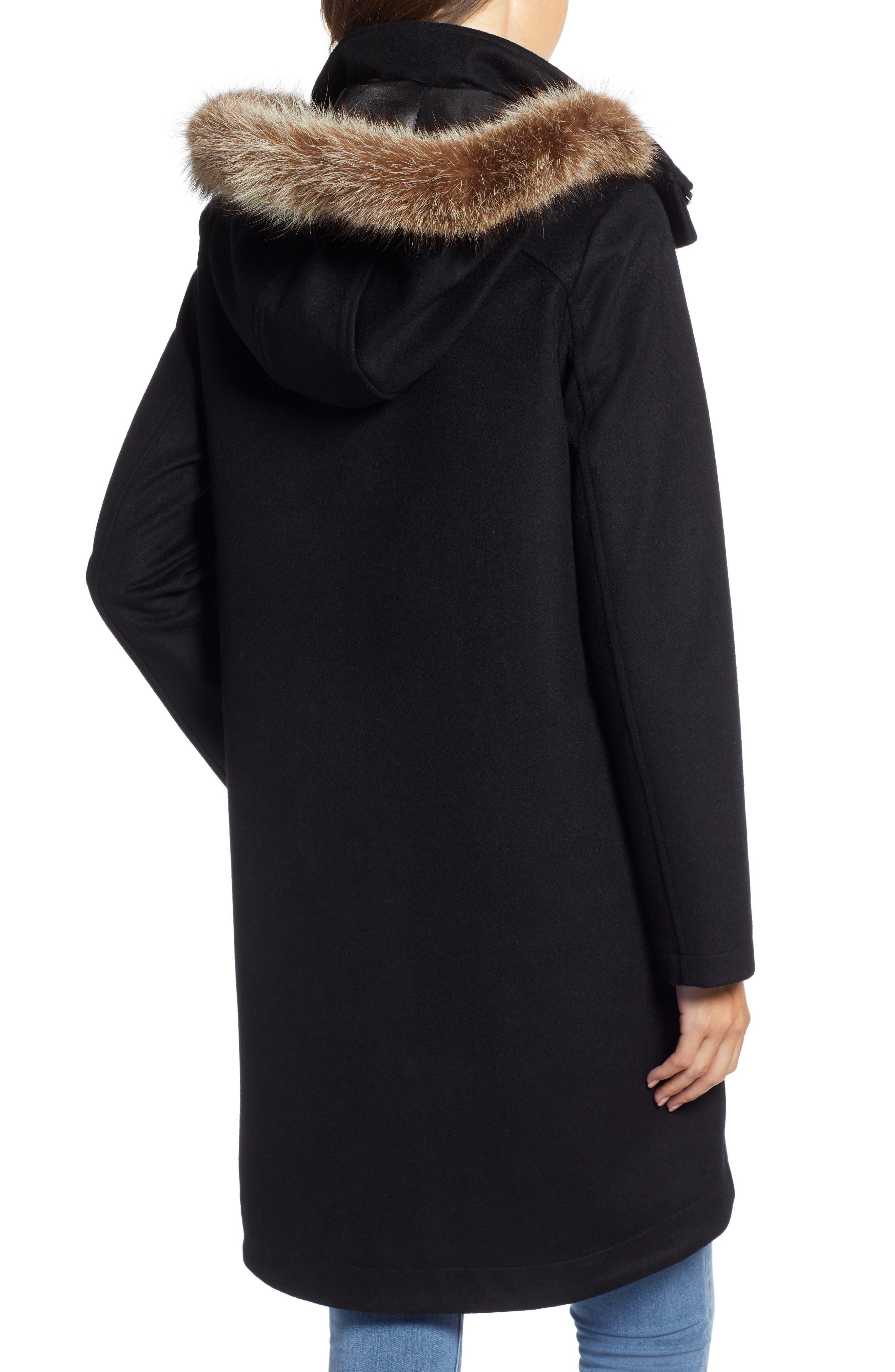St Marie Wool Hooded Coat with Genuine Raccoon Fur Trim,                             Alternate thumbnail 2, color,                             BLACK