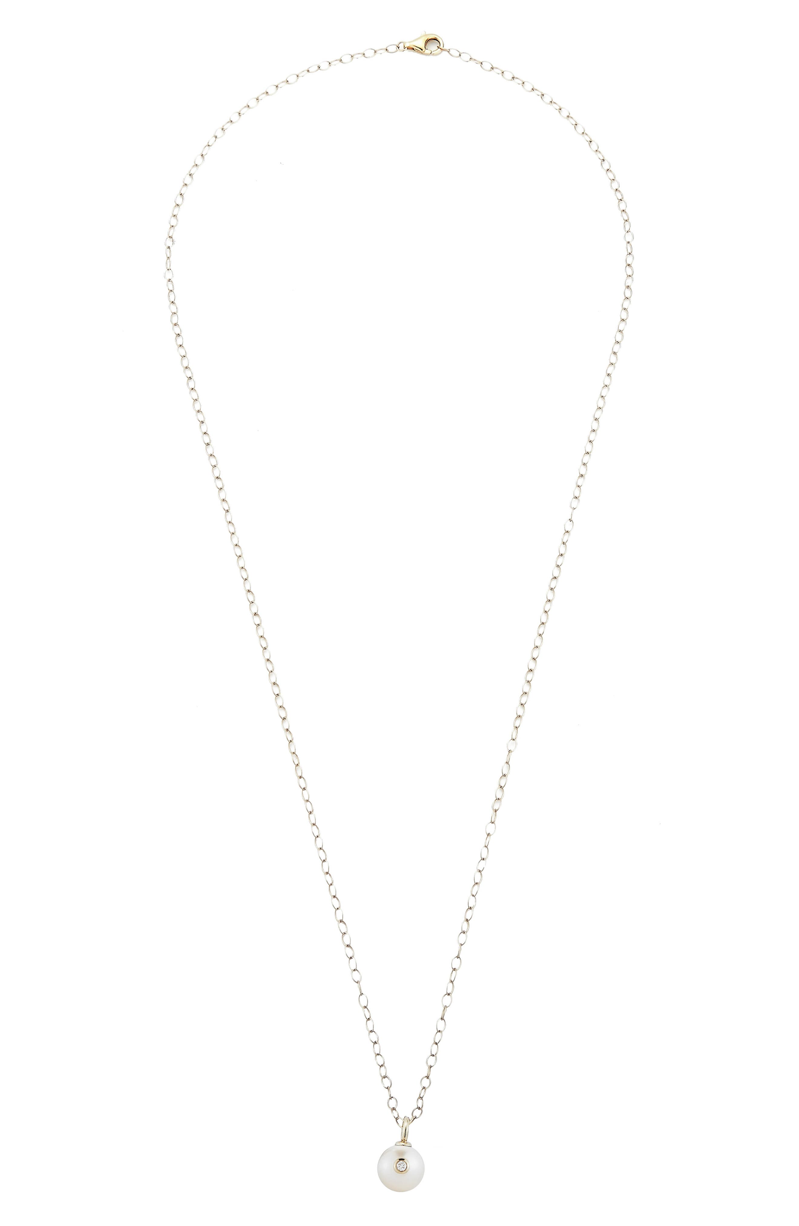 Round Genuine Pearl & Diamond Pendant Necklace,                             Main thumbnail 1, color,                             YELLOW GOLD/ PEARL