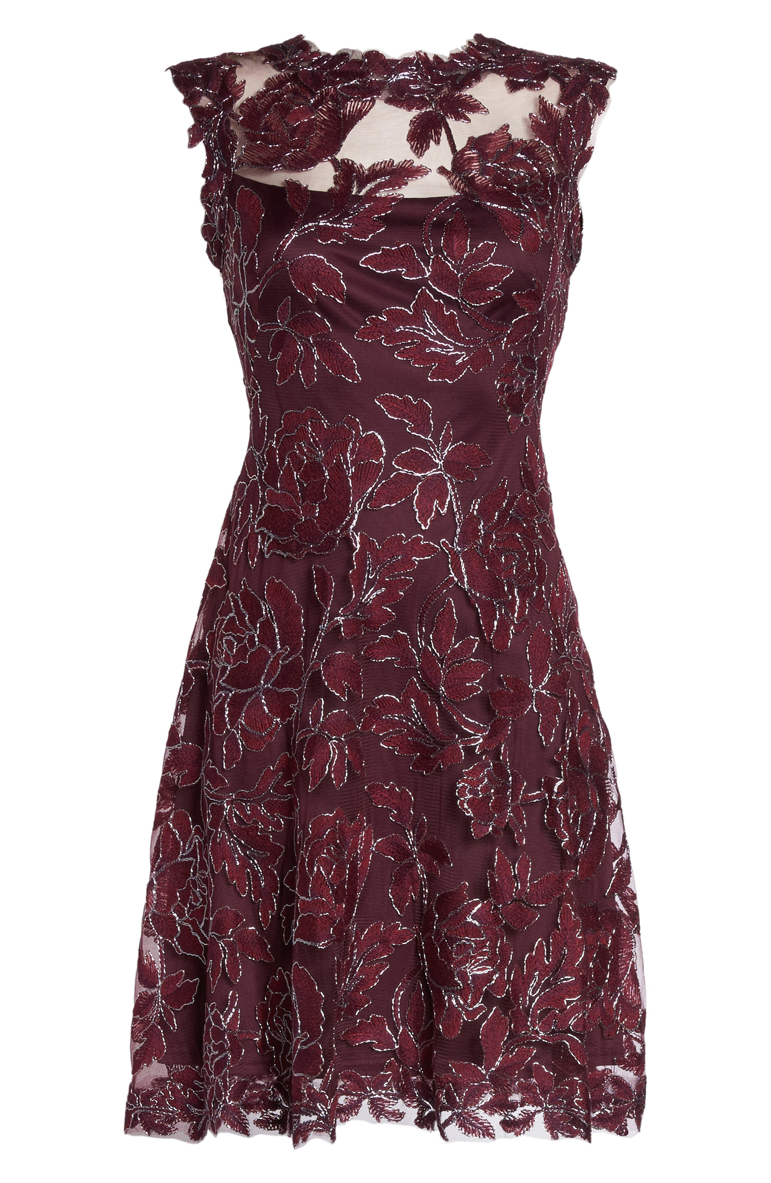 Noelle Floral Fit & Flare Dress,                             Alternate thumbnail 6, color,                             572