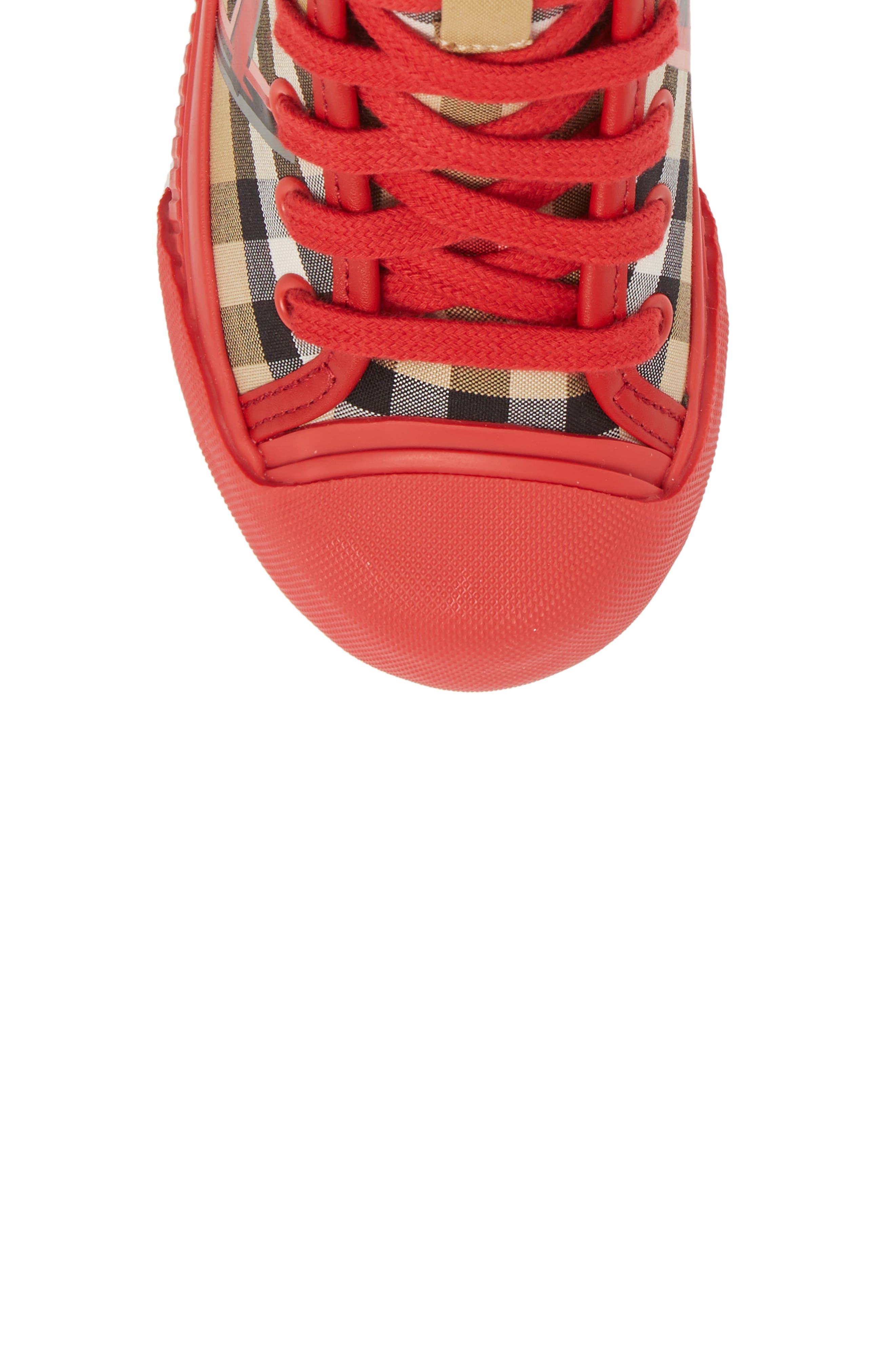 Mini Kingly High Top Sneaker,                             Alternate thumbnail 5, color,                             BRIGHT RED