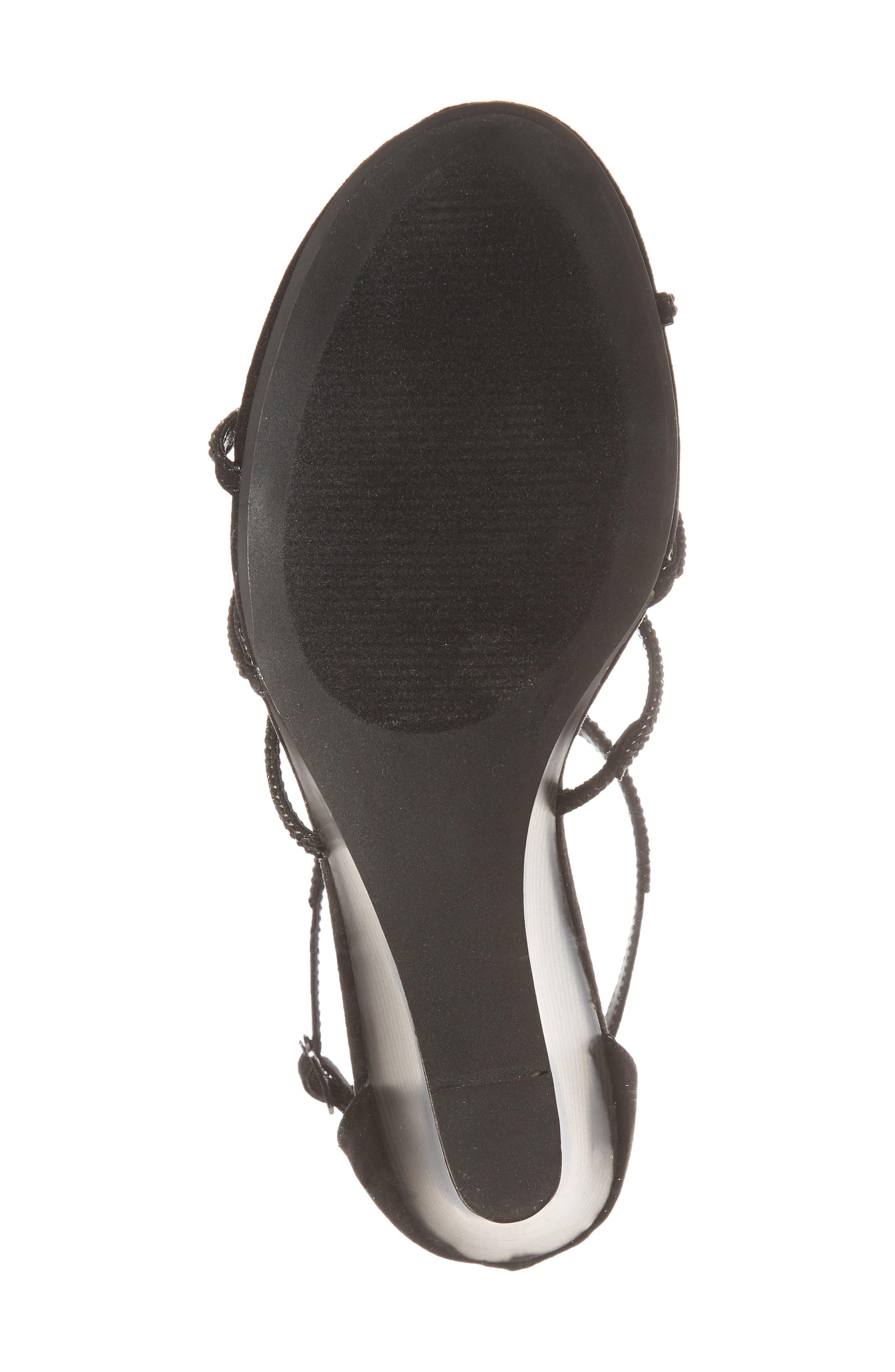 Hampton Crystal Embellished Wedge Sandal,                             Alternate thumbnail 6, color,                             BLACK SUEDE