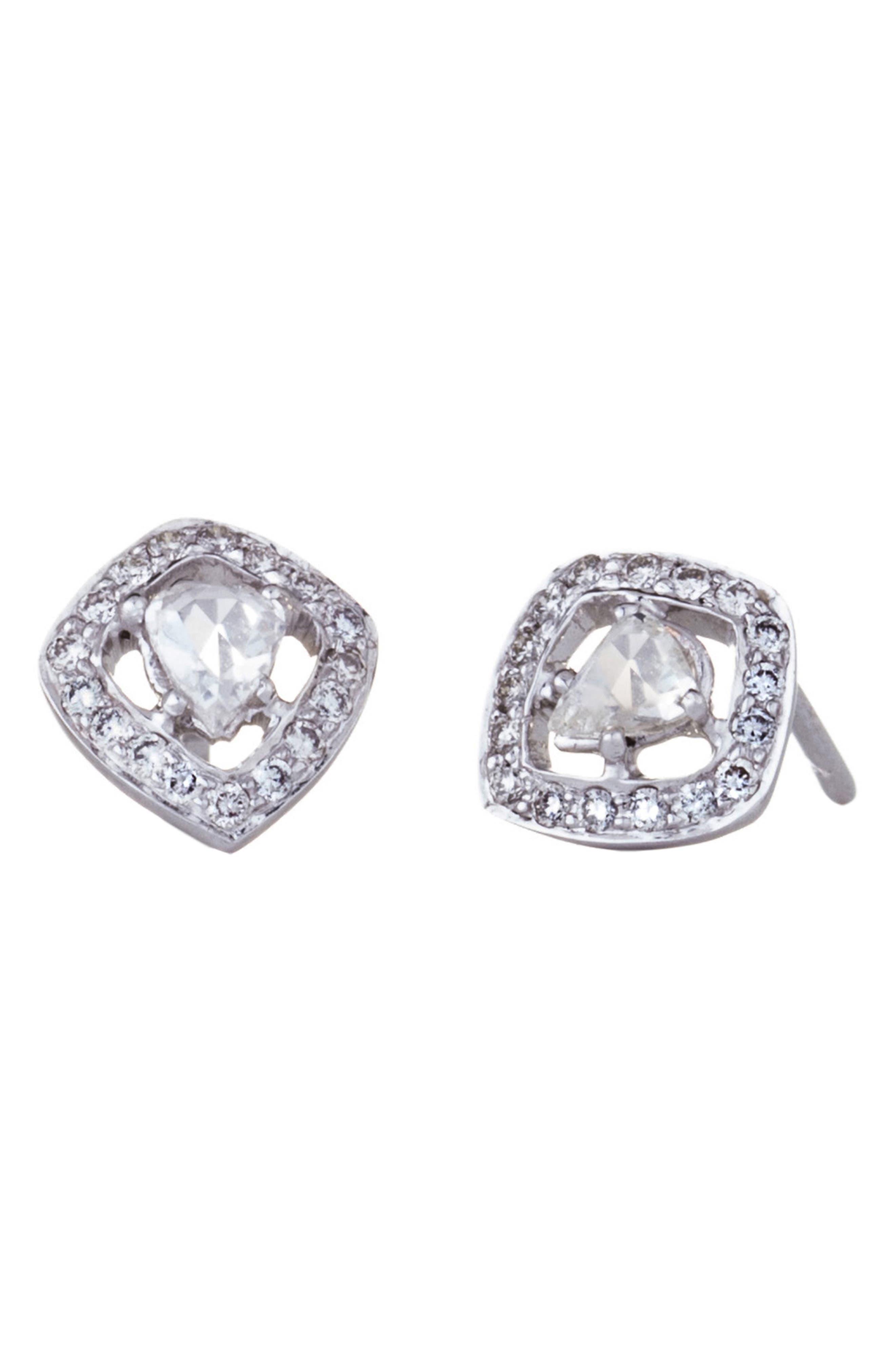 SETHI COUTURE Rose-Cut Diamond Stud Earrings in White Gold/ Diamond