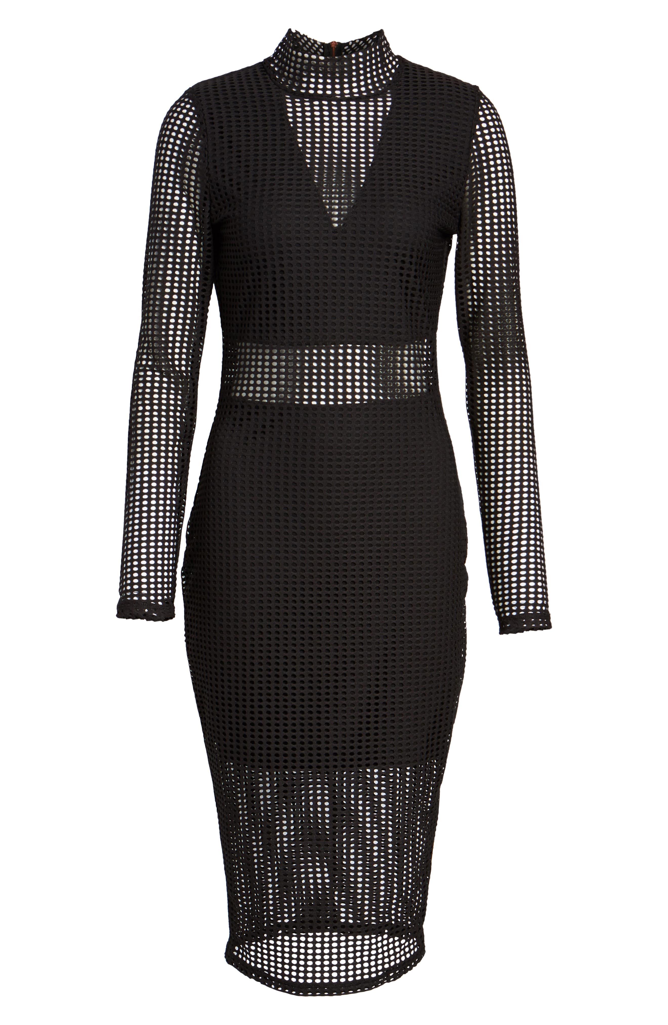 Laser Cut Body-Con Dress,                             Alternate thumbnail 6, color,                             001