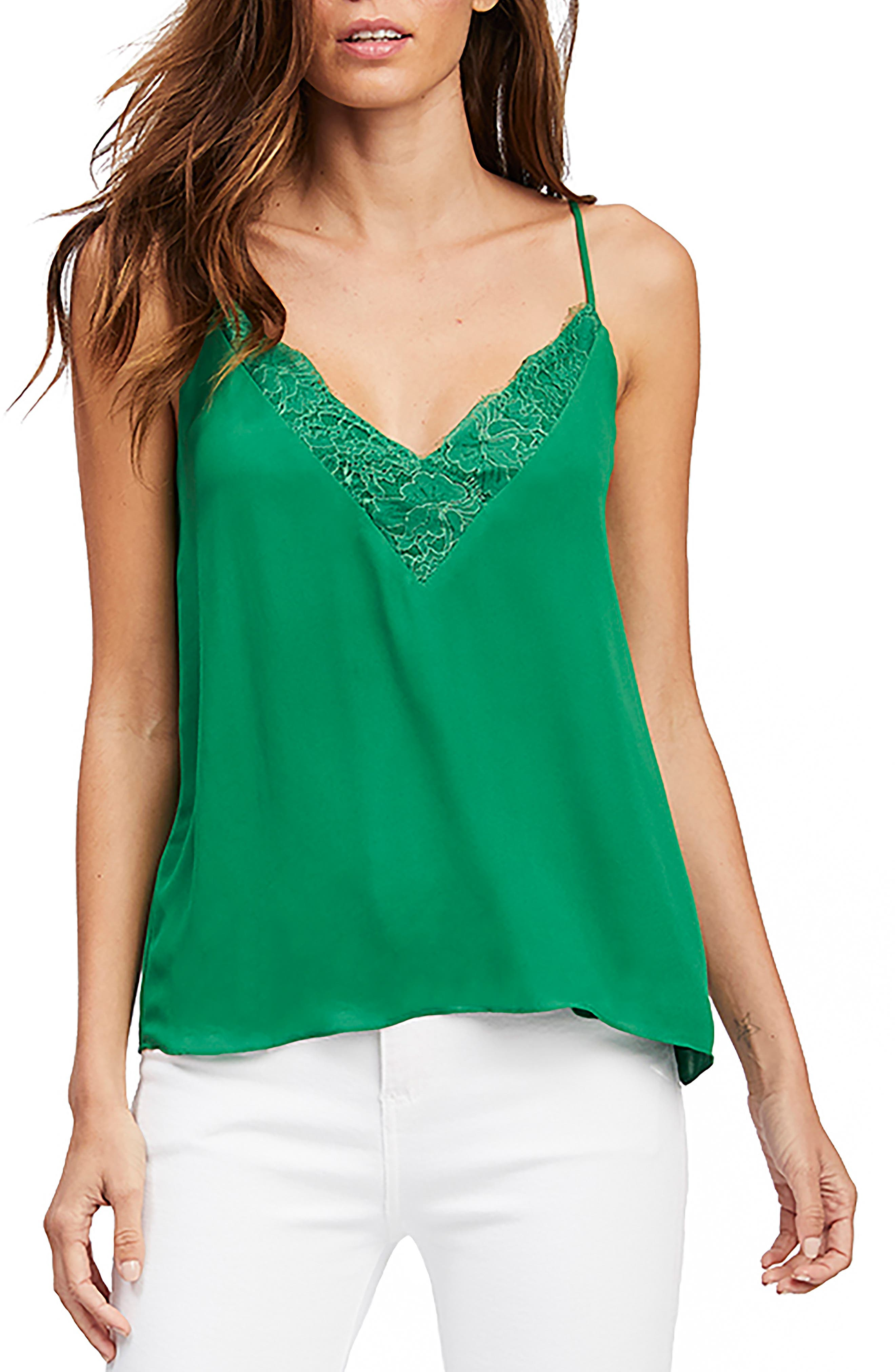 Socialite Lace Trim Camisole Top, Green
