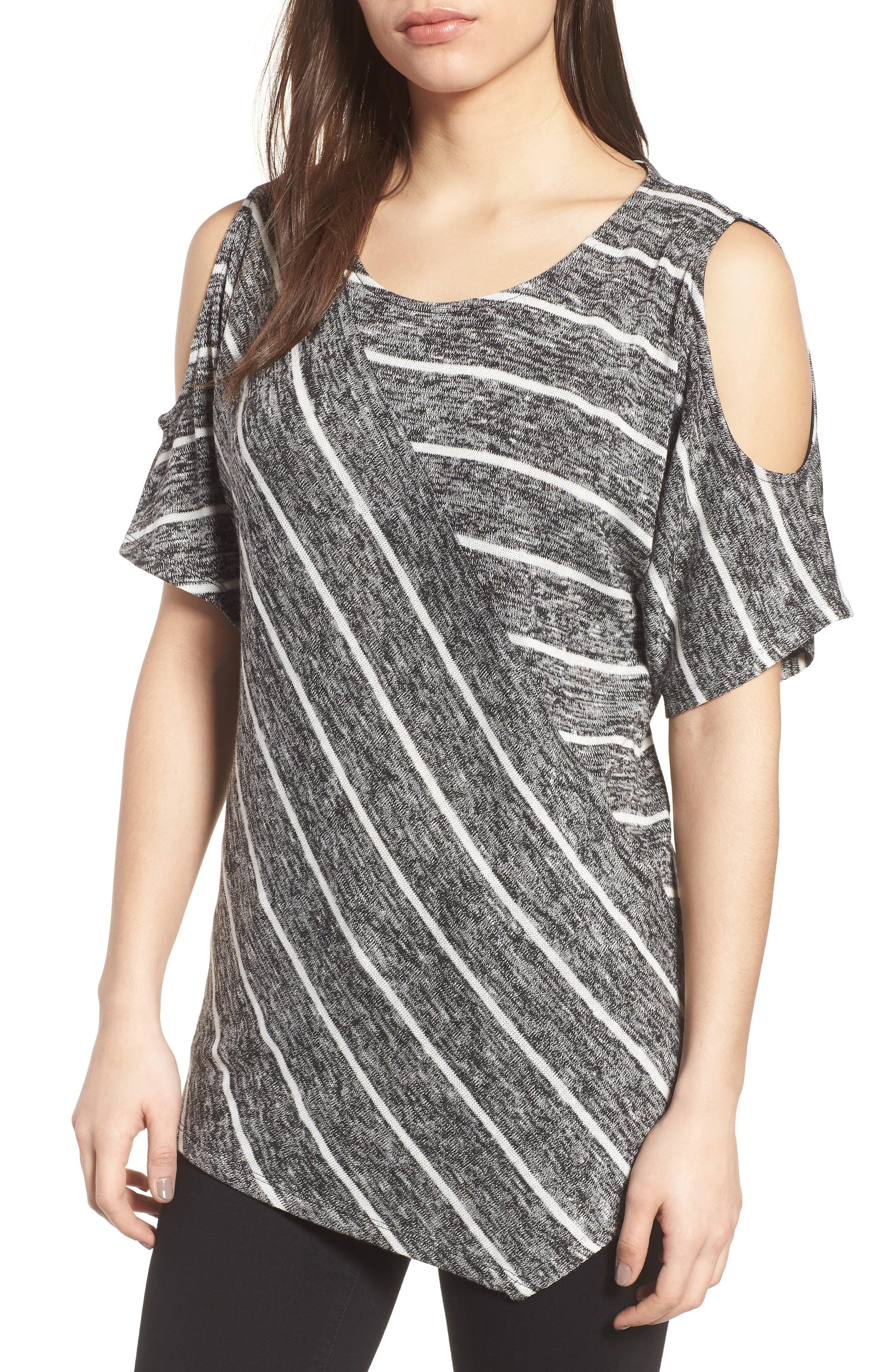 Cold Shoulder Marled Stripe Top,                         Main,                         color, 001
