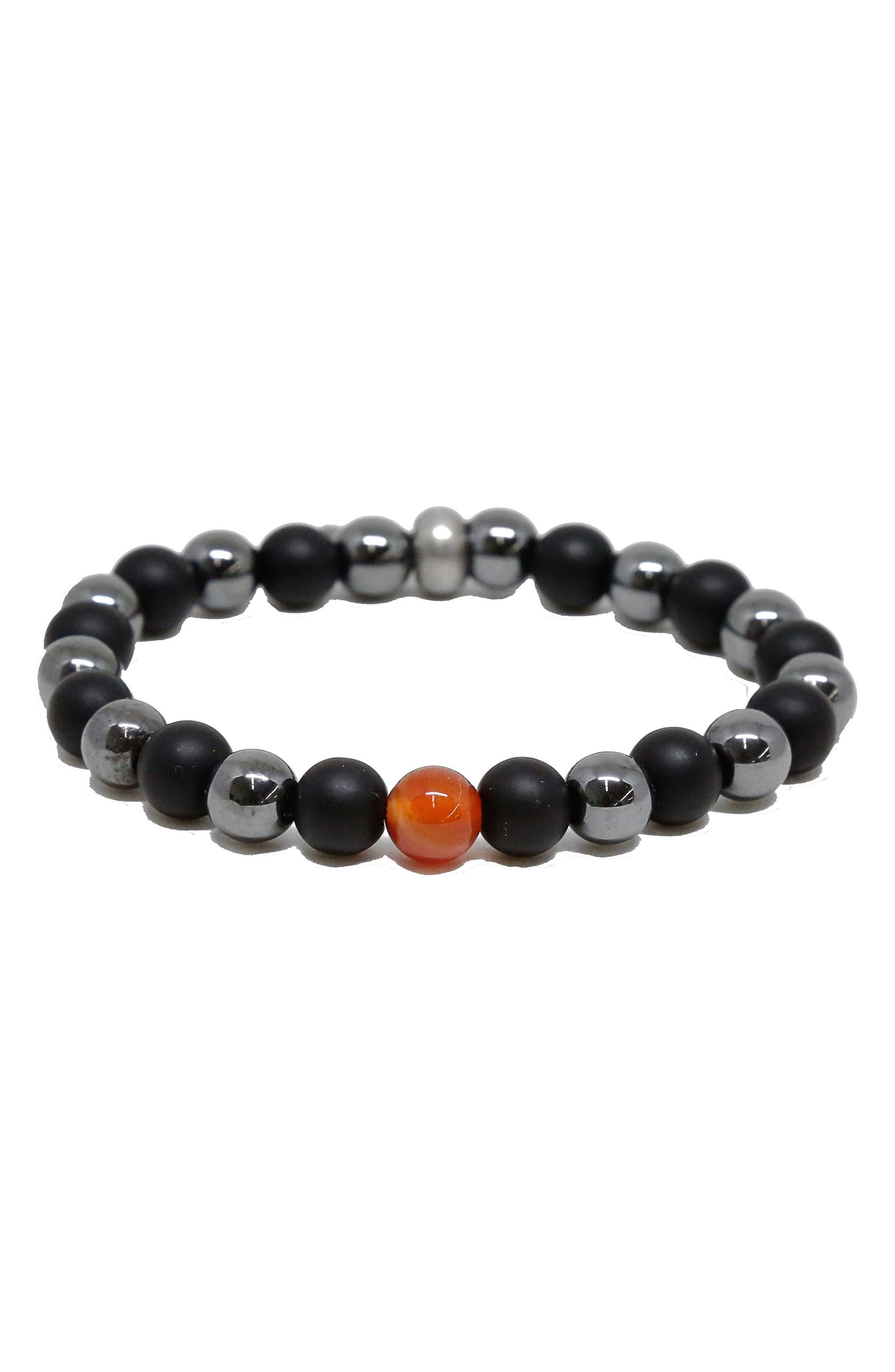 Stone Bead Bracelet,                             Main thumbnail 1, color,                             BLACK/ HEMATITE
