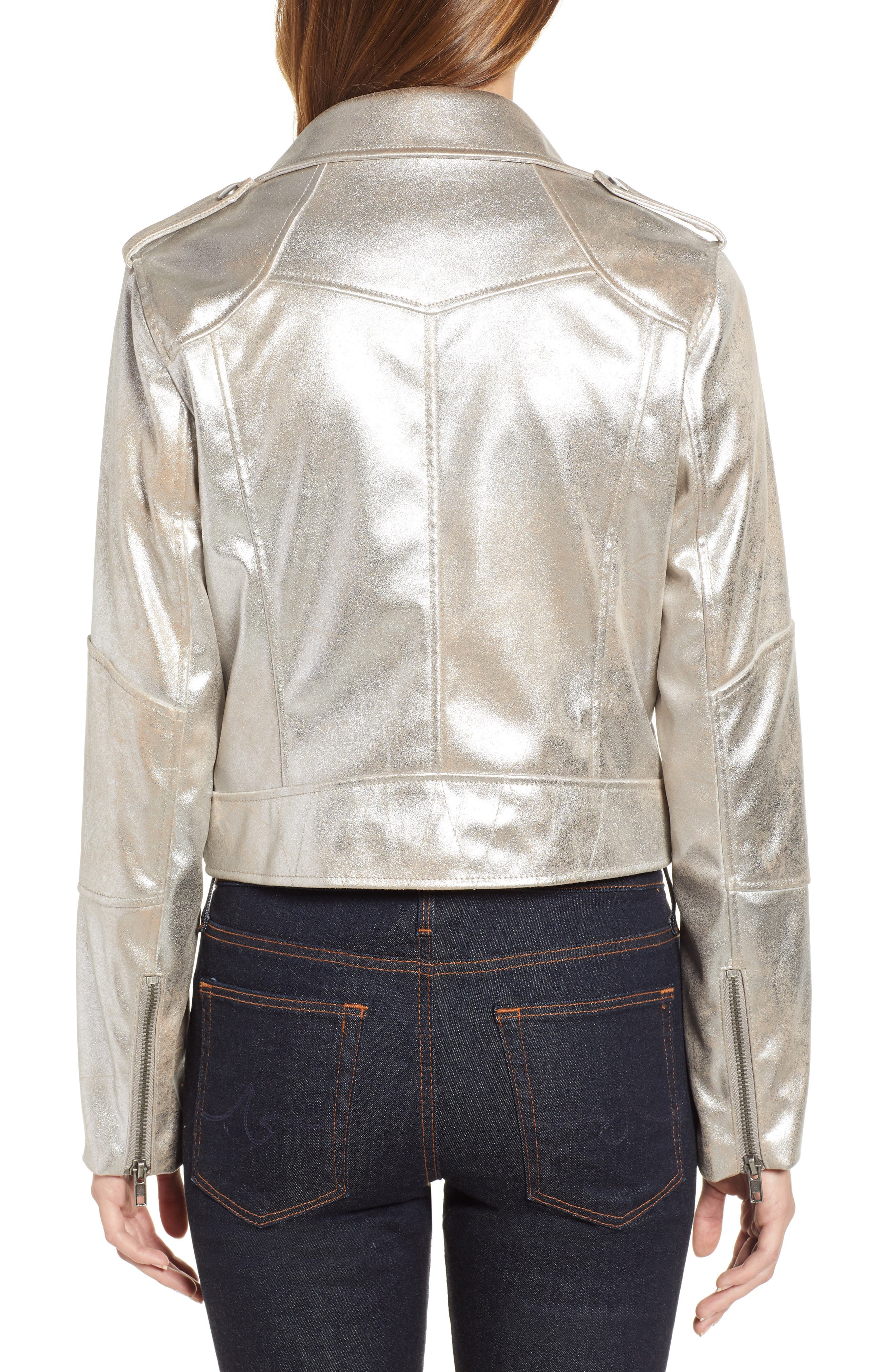 CUPCAKES AND CASHMERE,                             Foiled Faux Suede Moto Jacket,                             Alternate thumbnail 2, color,                             SILVER TOFFEE